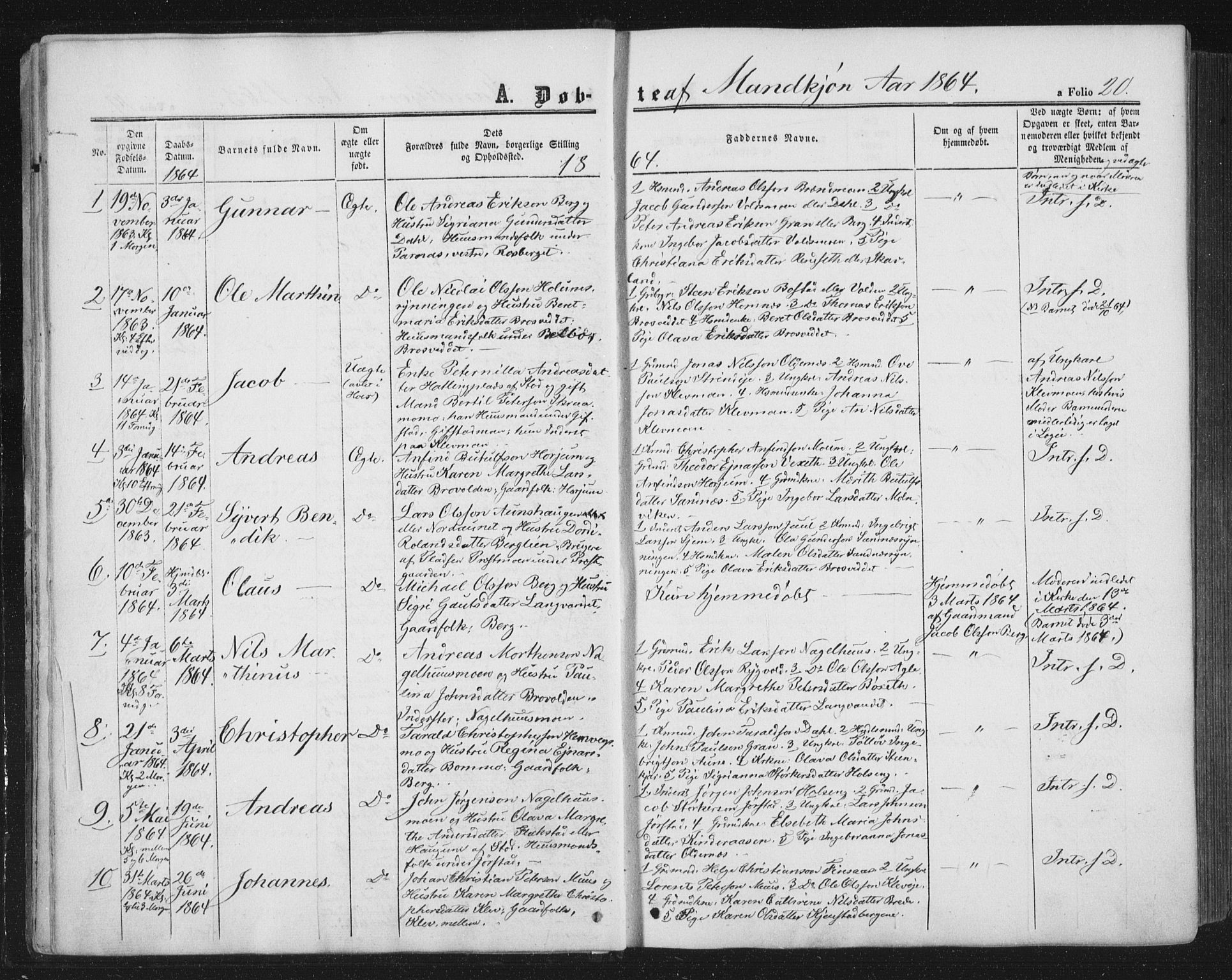 SAT, Ministerialprotokoller, klokkerbøker og fødselsregistre - Nord-Trøndelag, 749/L0472: Ministerialbok nr. 749A06, 1857-1873, s. 20