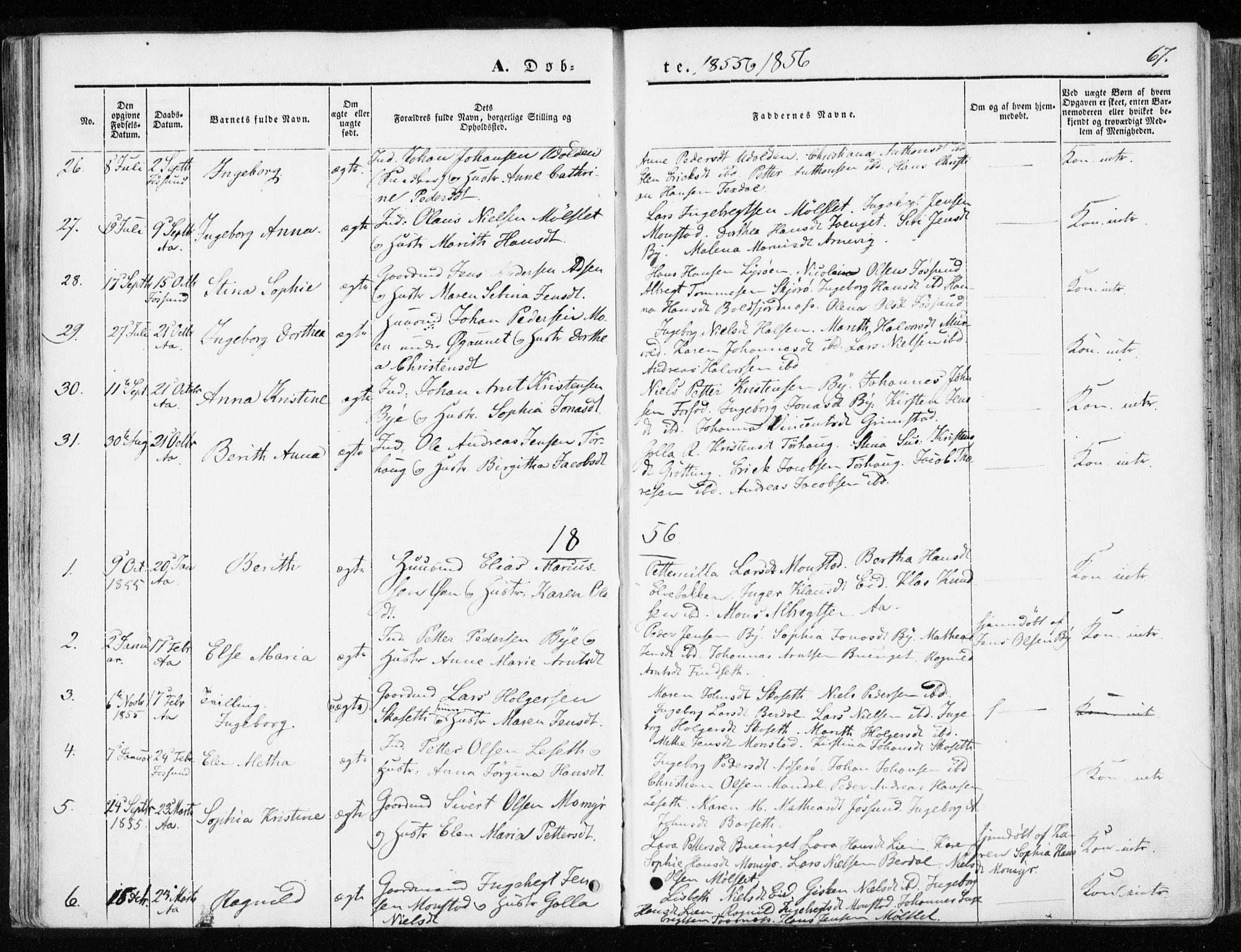 SAT, Ministerialprotokoller, klokkerbøker og fødselsregistre - Sør-Trøndelag, 655/L0677: Ministerialbok nr. 655A06, 1847-1860, s. 67