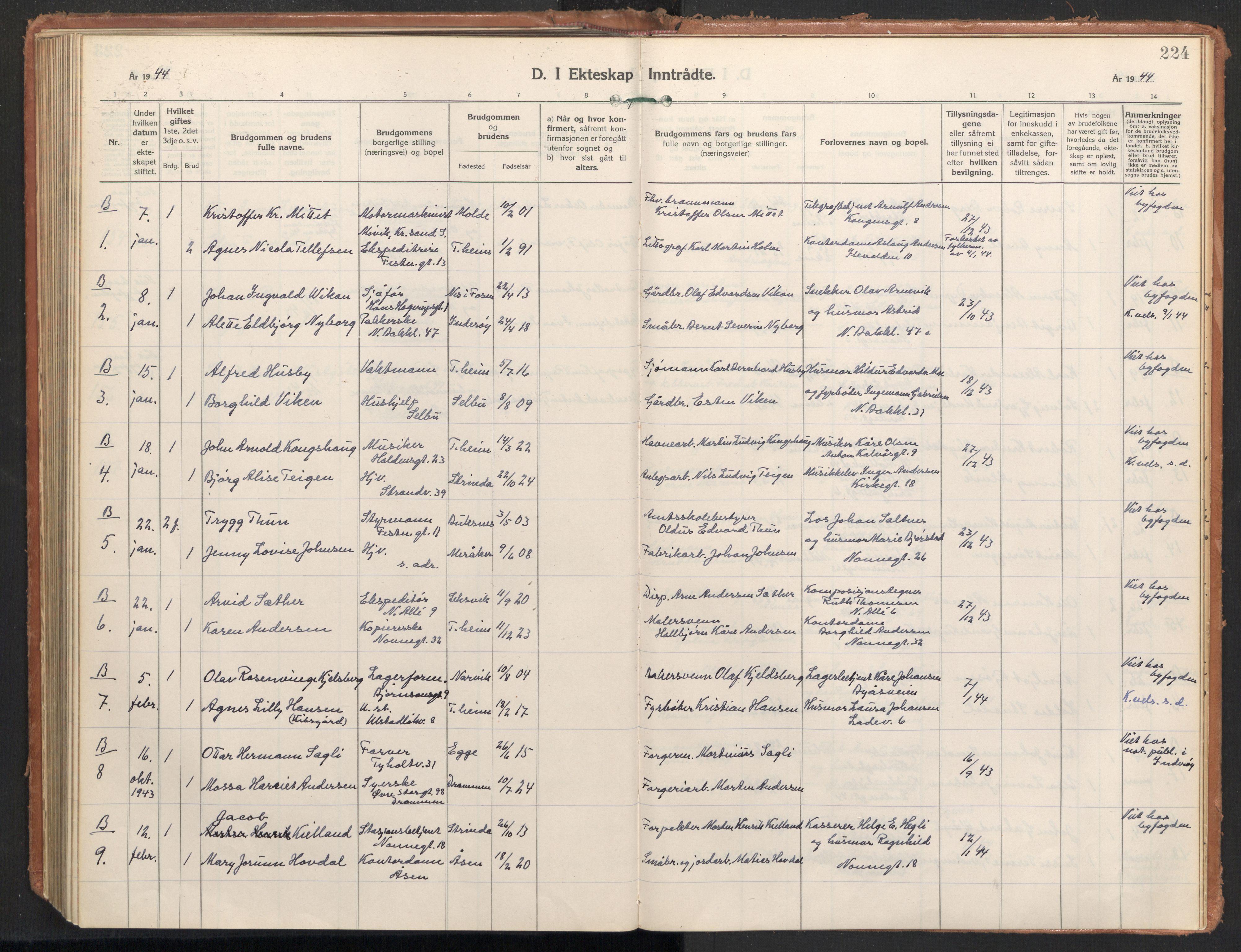 SAT, Ministerialprotokoller, klokkerbøker og fødselsregistre - Sør-Trøndelag, 604/L0209: Ministerialbok nr. 604A29, 1931-1945, s. 224