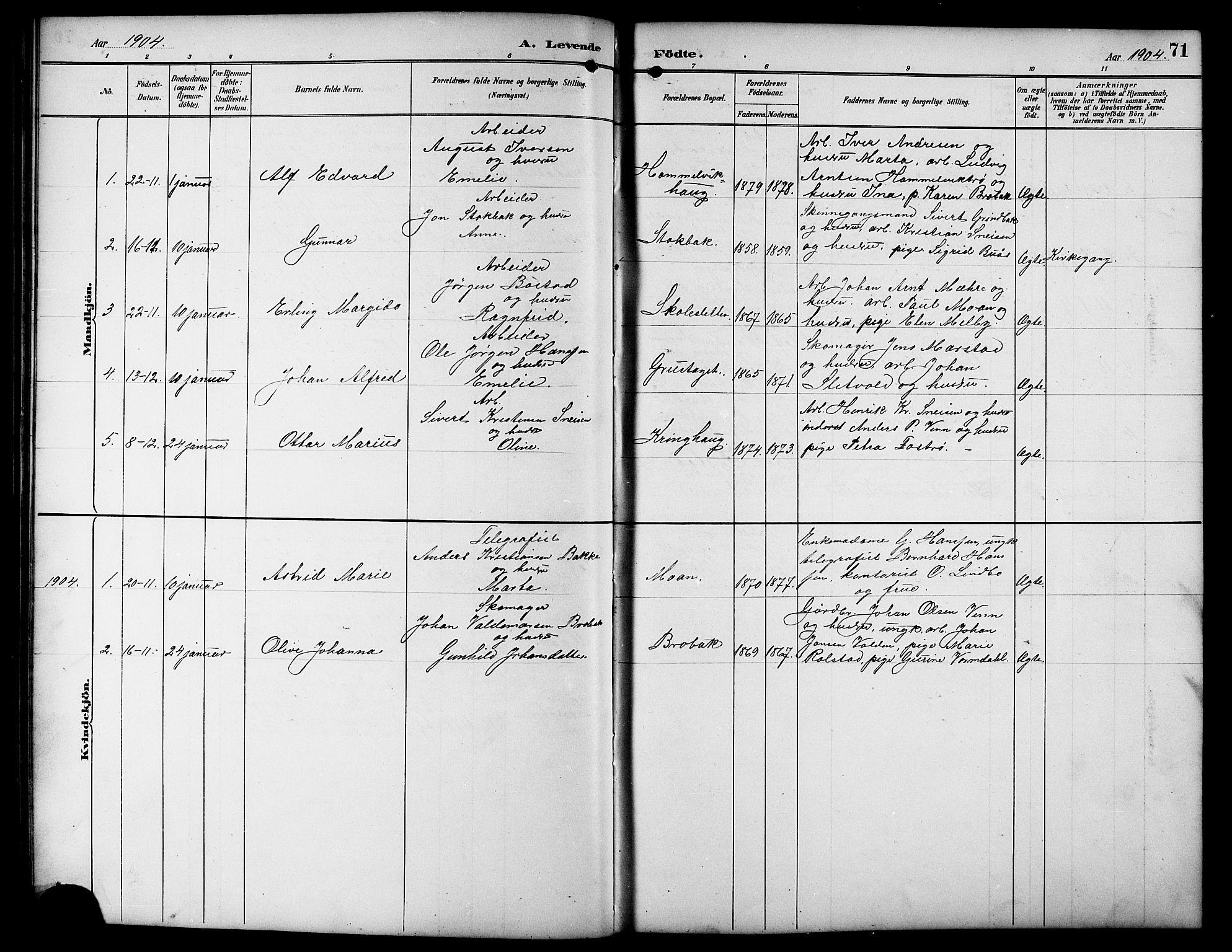 SAT, Ministerialprotokoller, klokkerbøker og fødselsregistre - Sør-Trøndelag, 617/L0431: Klokkerbok nr. 617C01, 1889-1910, s. 71