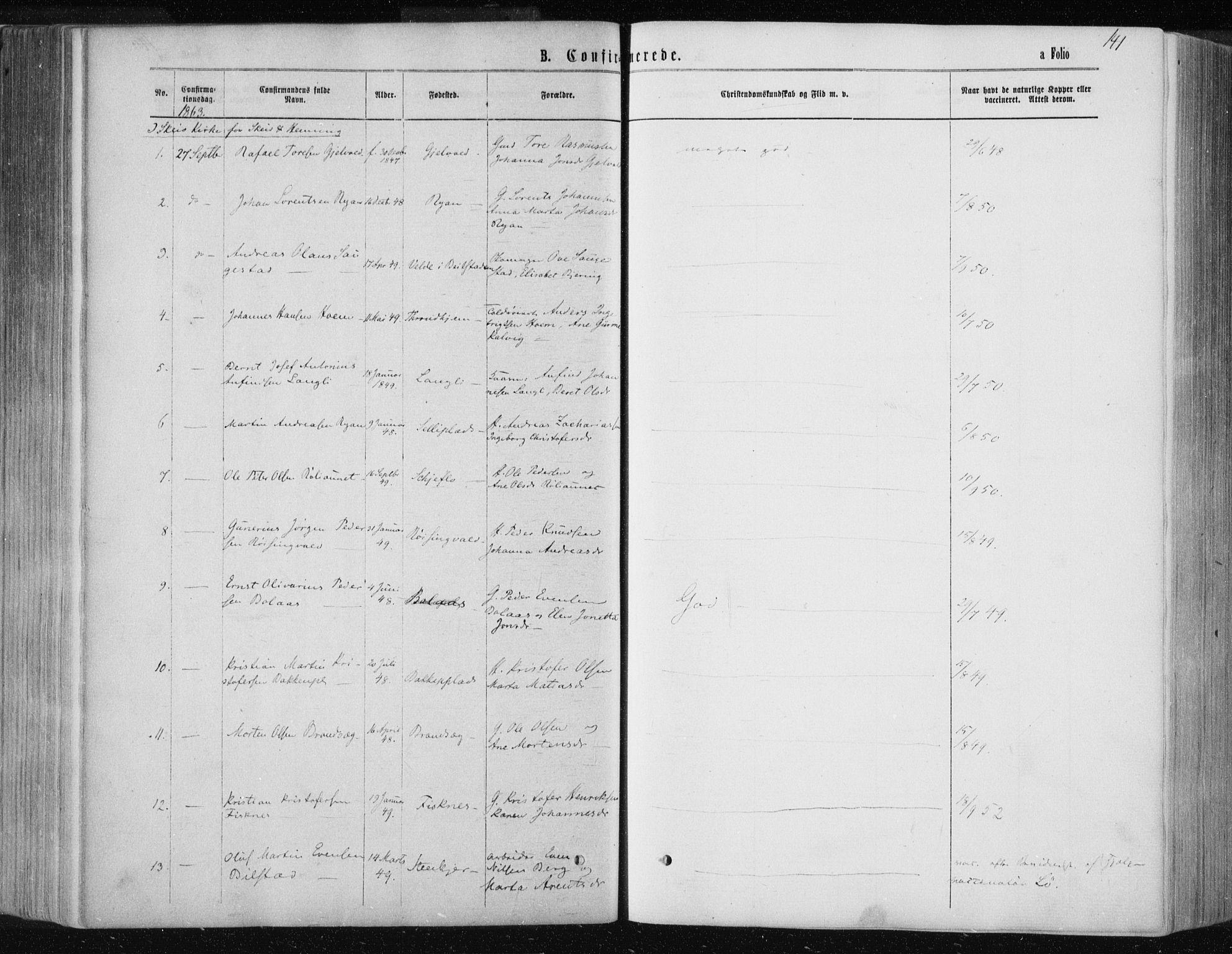 SAT, Ministerialprotokoller, klokkerbøker og fødselsregistre - Nord-Trøndelag, 735/L0345: Ministerialbok nr. 735A08 /1, 1863-1872, s. 141