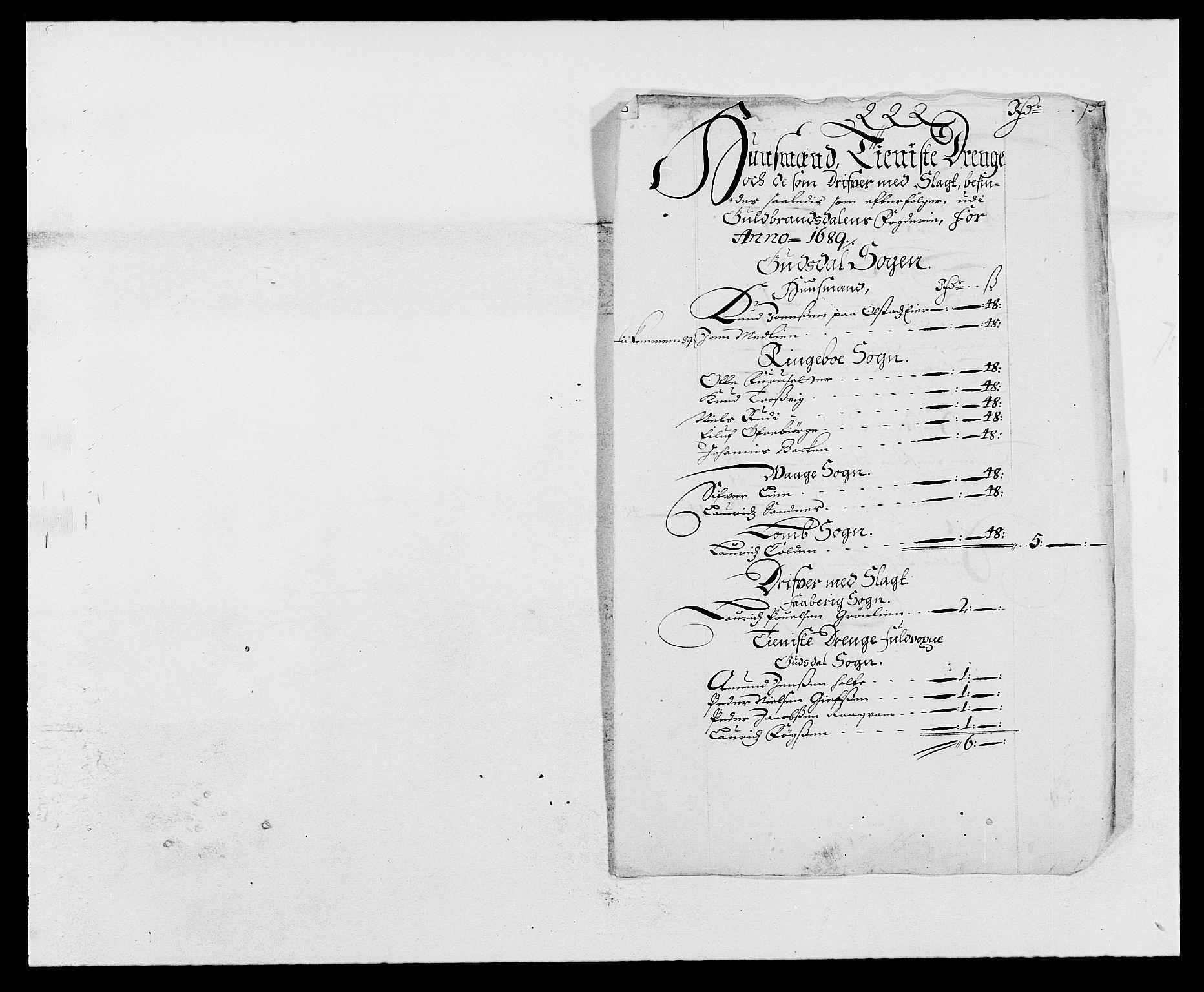 RA, Rentekammeret inntil 1814, Reviderte regnskaper, Fogderegnskap, R17/L1164: Fogderegnskap Gudbrandsdal, 1682-1689, s. 136