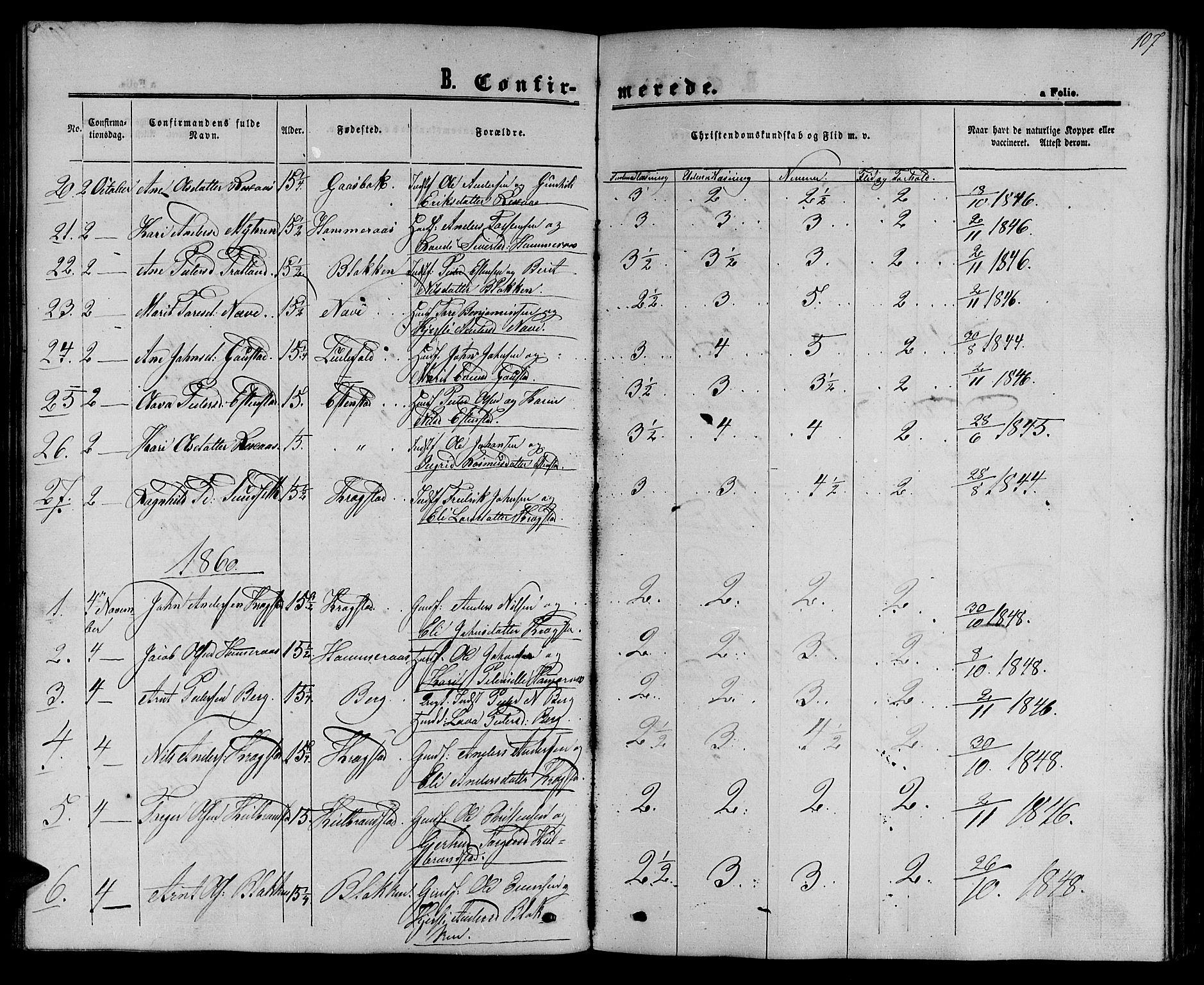 SAT, Ministerialprotokoller, klokkerbøker og fødselsregistre - Sør-Trøndelag, 694/L1131: Klokkerbok nr. 694C03, 1858-1886, s. 107