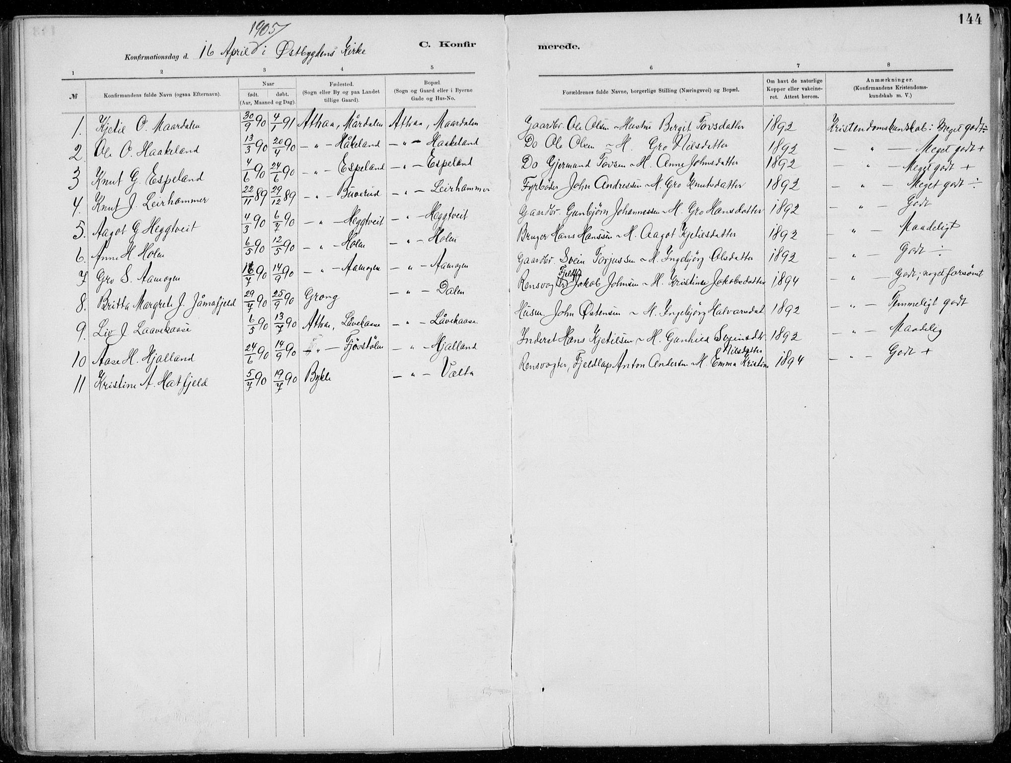 SAKO, Tinn kirkebøker, F/Fa/L0007: Ministerialbok nr. I 7, 1878-1922, s. 144
