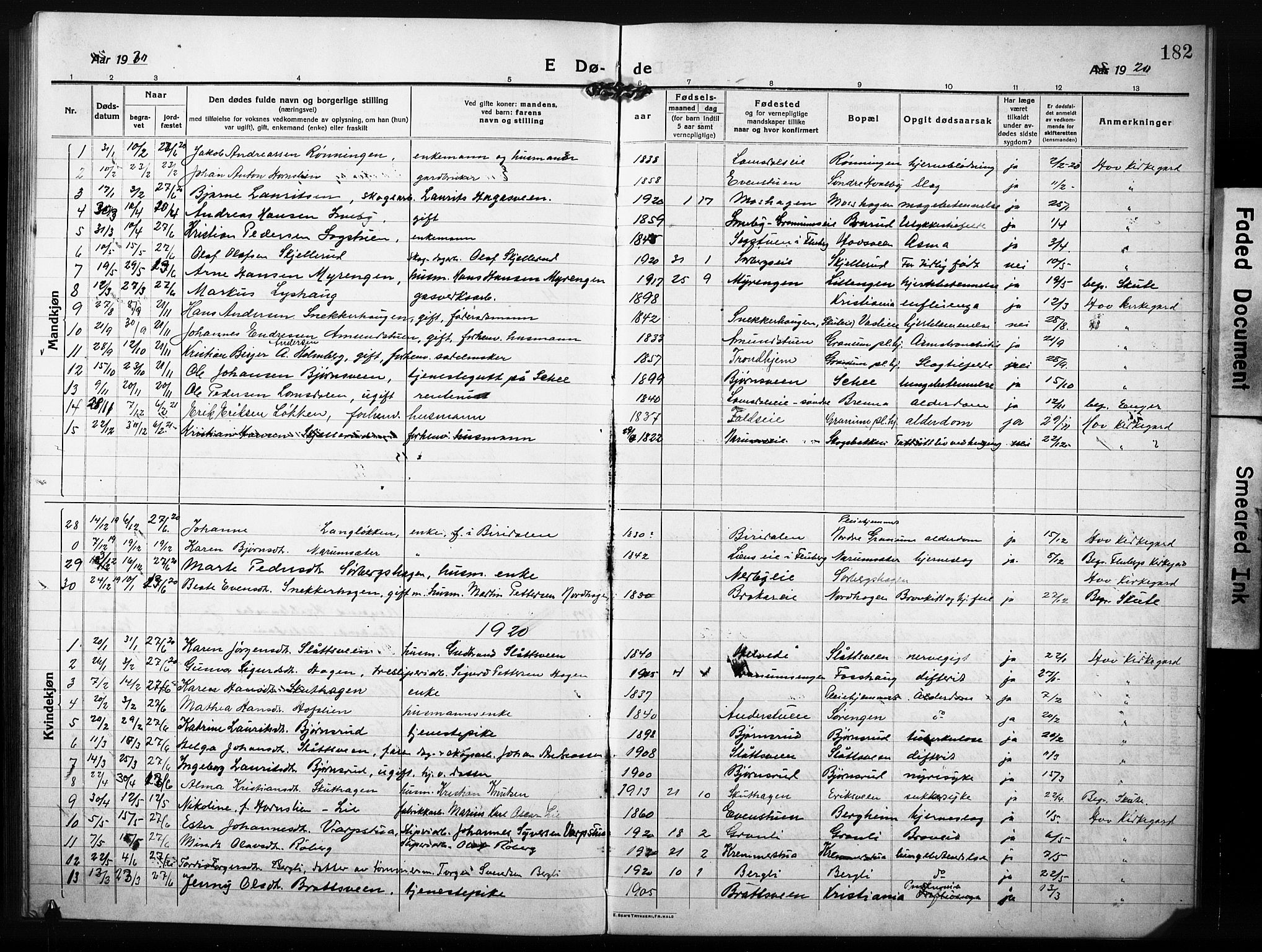 SAH, Søndre Land prestekontor, L/L0007: Klokkerbok nr. 7, 1915-1932, s. 182