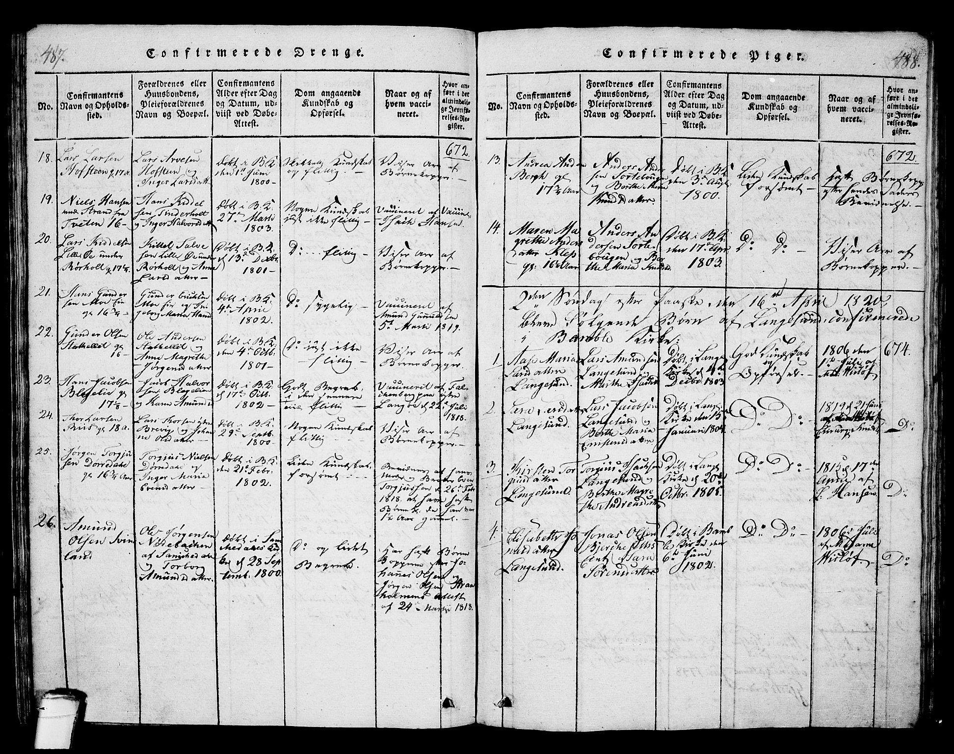 SAKO, Langesund kirkebøker, G/Ga/L0003: Klokkerbok nr. 3, 1815-1858, s. 487-488