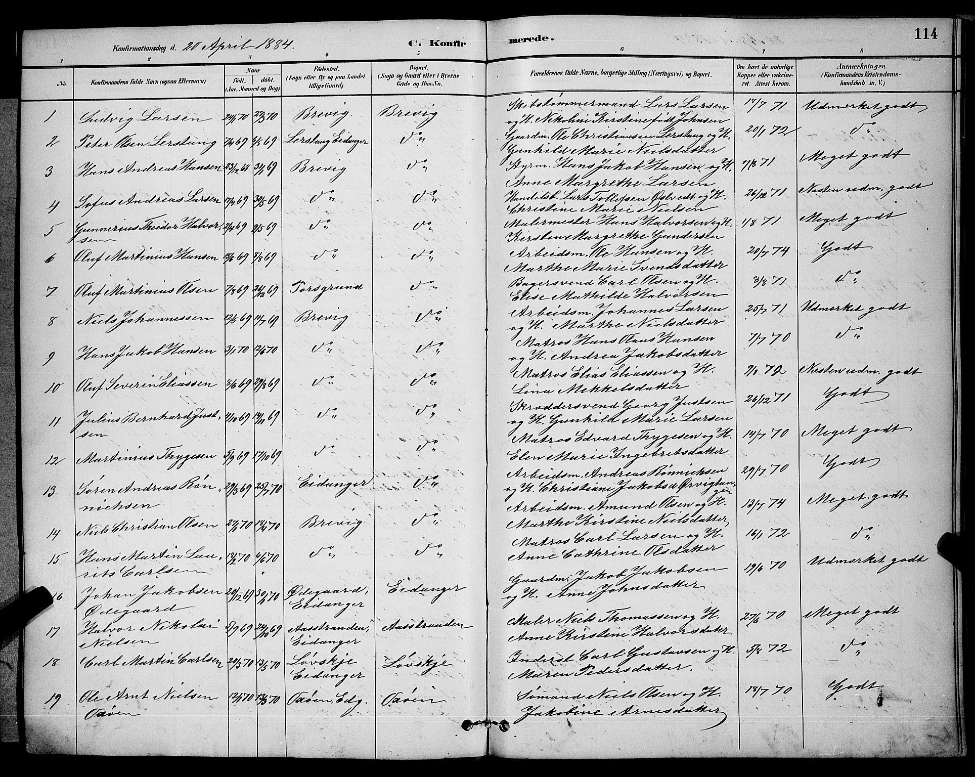 SAKO, Brevik kirkebøker, G/Ga/L0004: Klokkerbok nr. 4, 1882-1900, s. 114