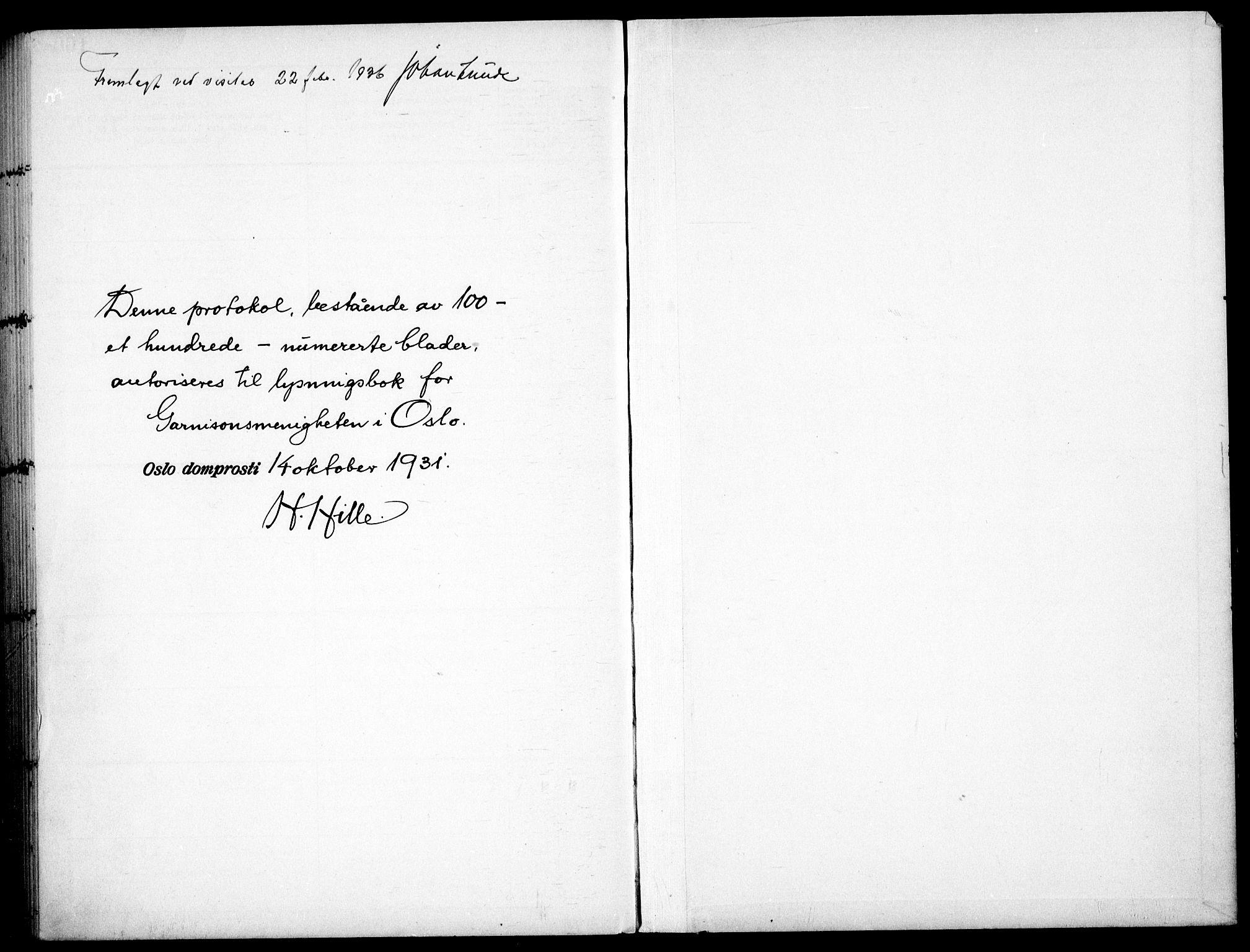SAO, Garnisonsmenigheten Kirkebøker, H/Ha/L0011: Lysningsprotokoll nr. I 11, 1932-1936