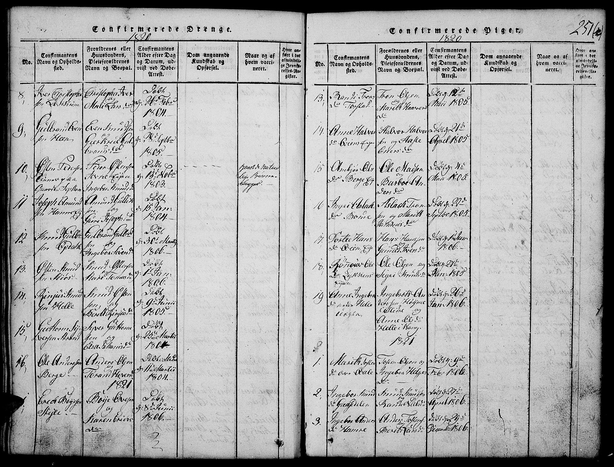 SAH, Vang prestekontor, Valdres, Klokkerbok nr. 2, 1814-1889, s. 251b