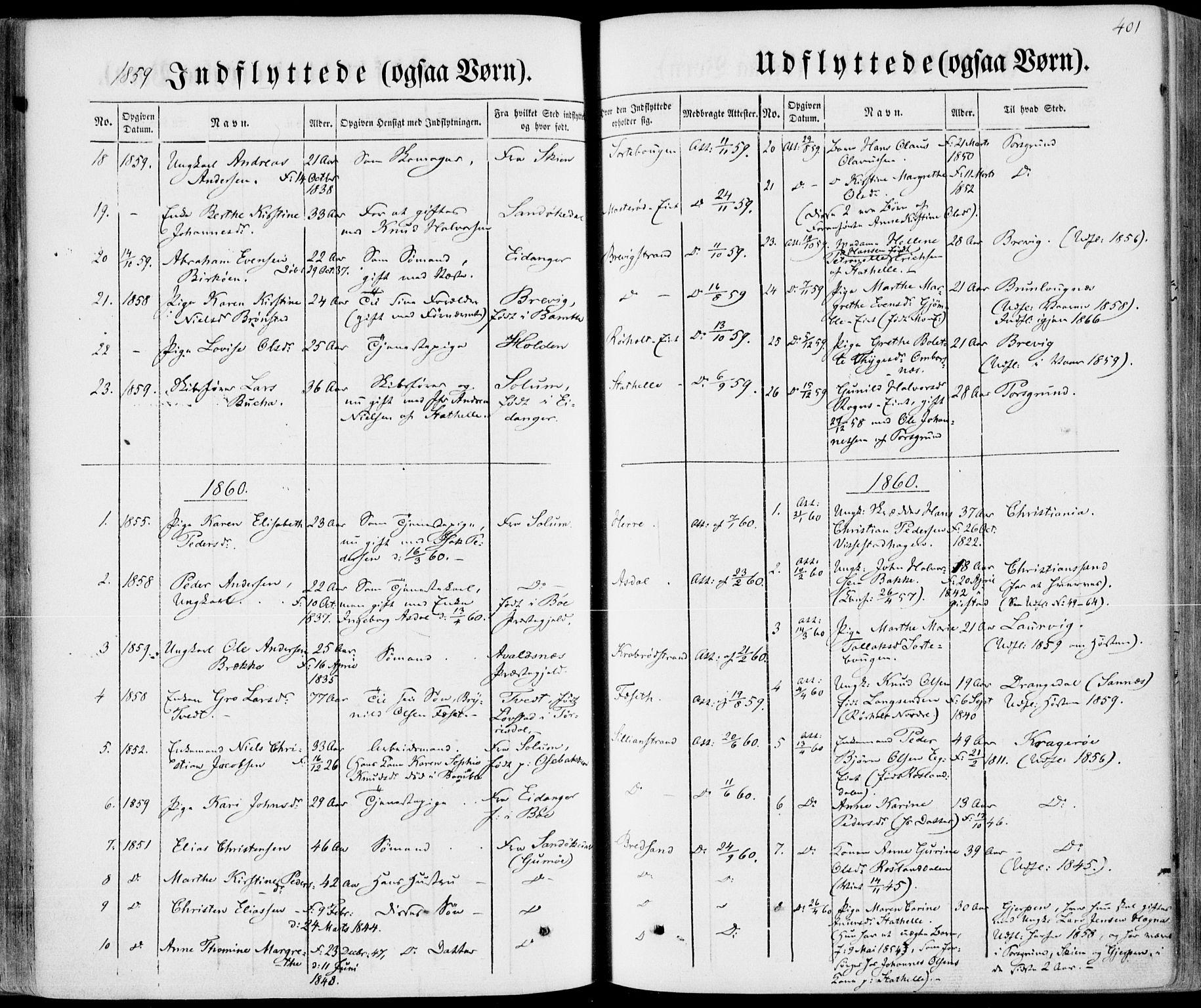 SAKO, Bamble kirkebøker, F/Fa/L0005: Ministerialbok nr. I 5, 1854-1869, s. 401