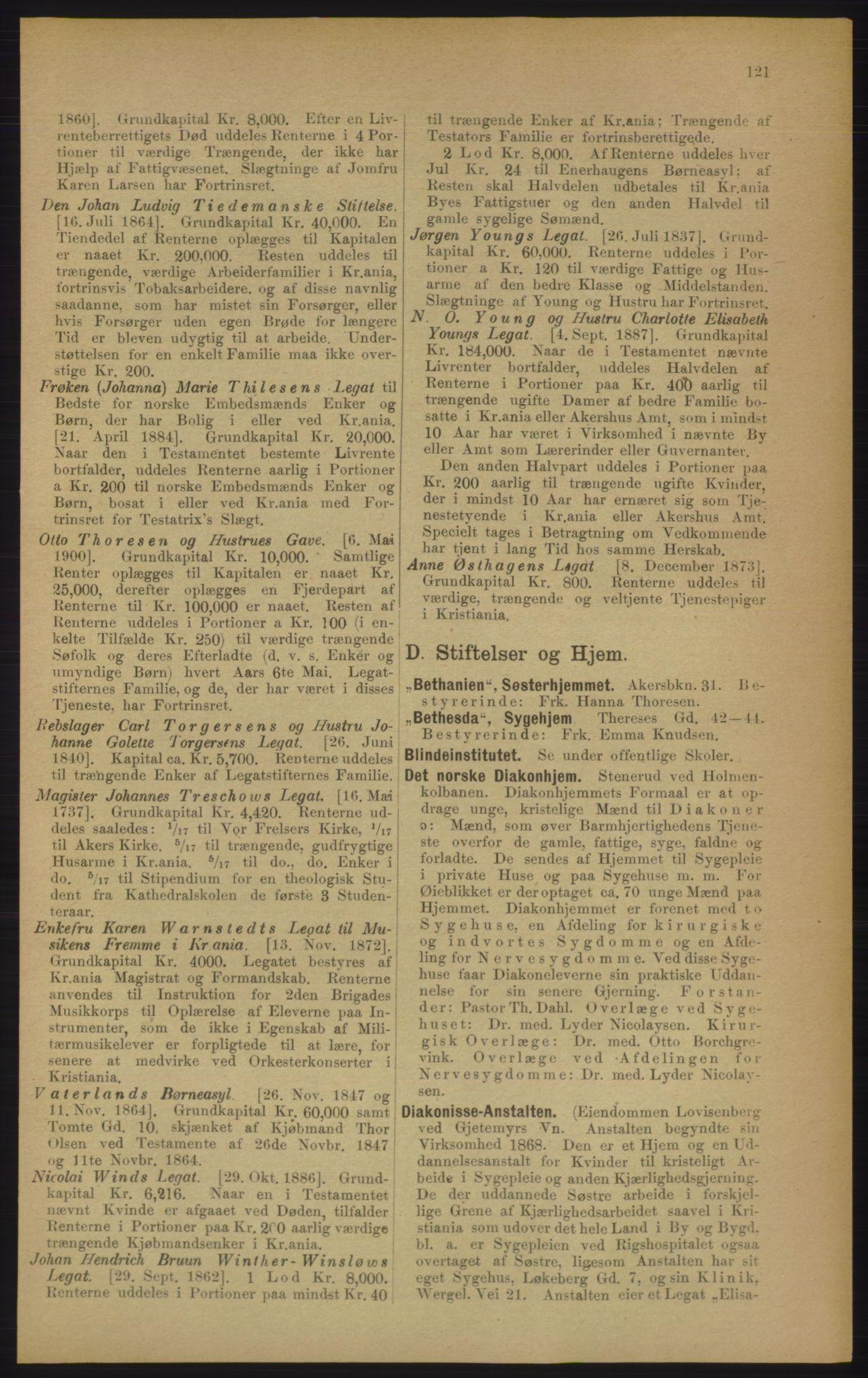 RA, Kristiania adressebok (publikasjon)*, 1906, s. 121