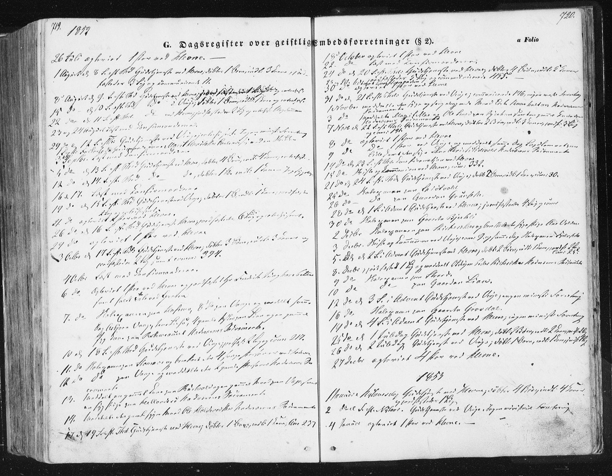 SAT, Ministerialprotokoller, klokkerbøker og fødselsregistre - Sør-Trøndelag, 630/L0494: Ministerialbok nr. 630A07, 1852-1868, s. 719-720