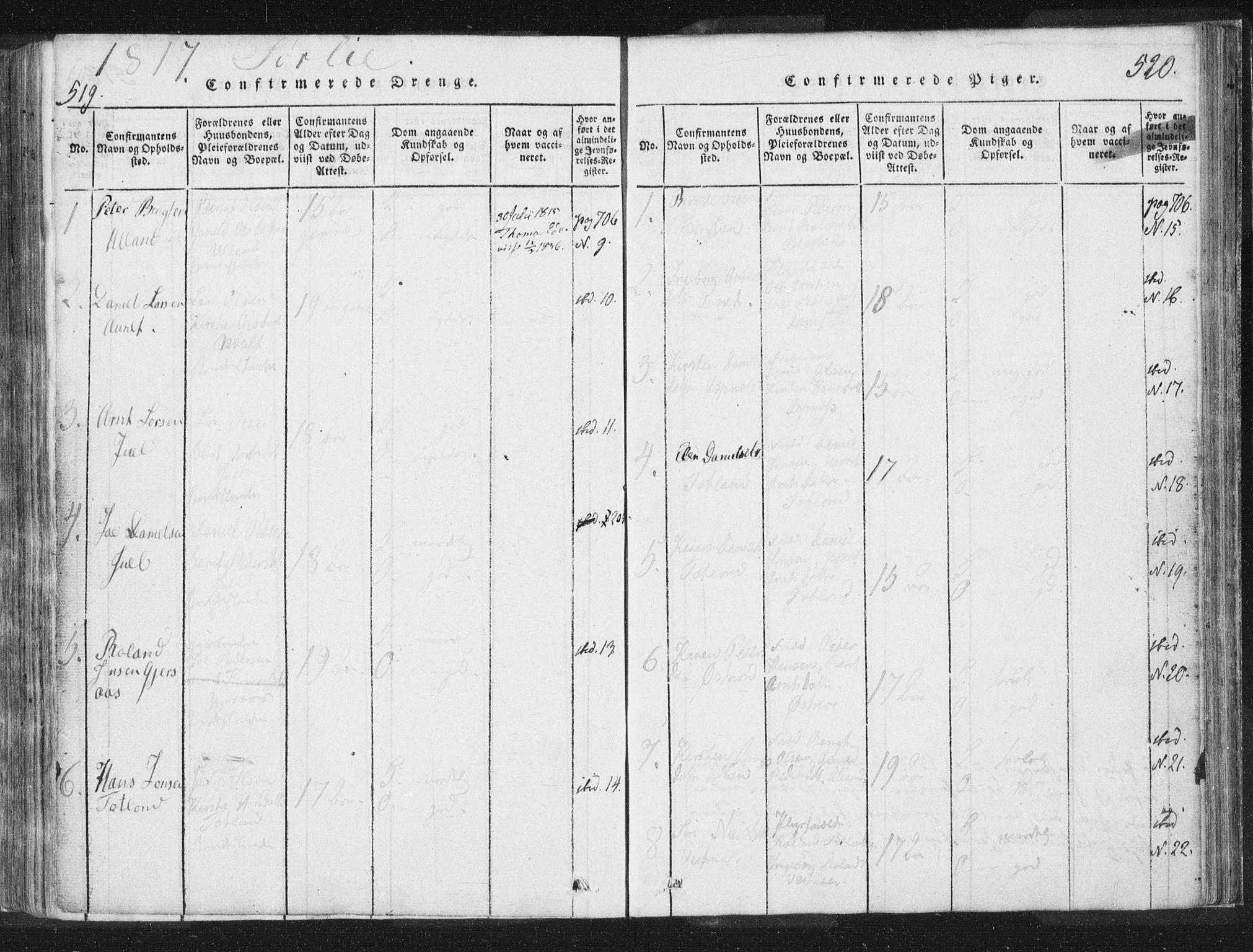 SAT, Ministerialprotokoller, klokkerbøker og fødselsregistre - Nord-Trøndelag, 755/L0491: Ministerialbok nr. 755A01 /2, 1817-1864, s. 519-520