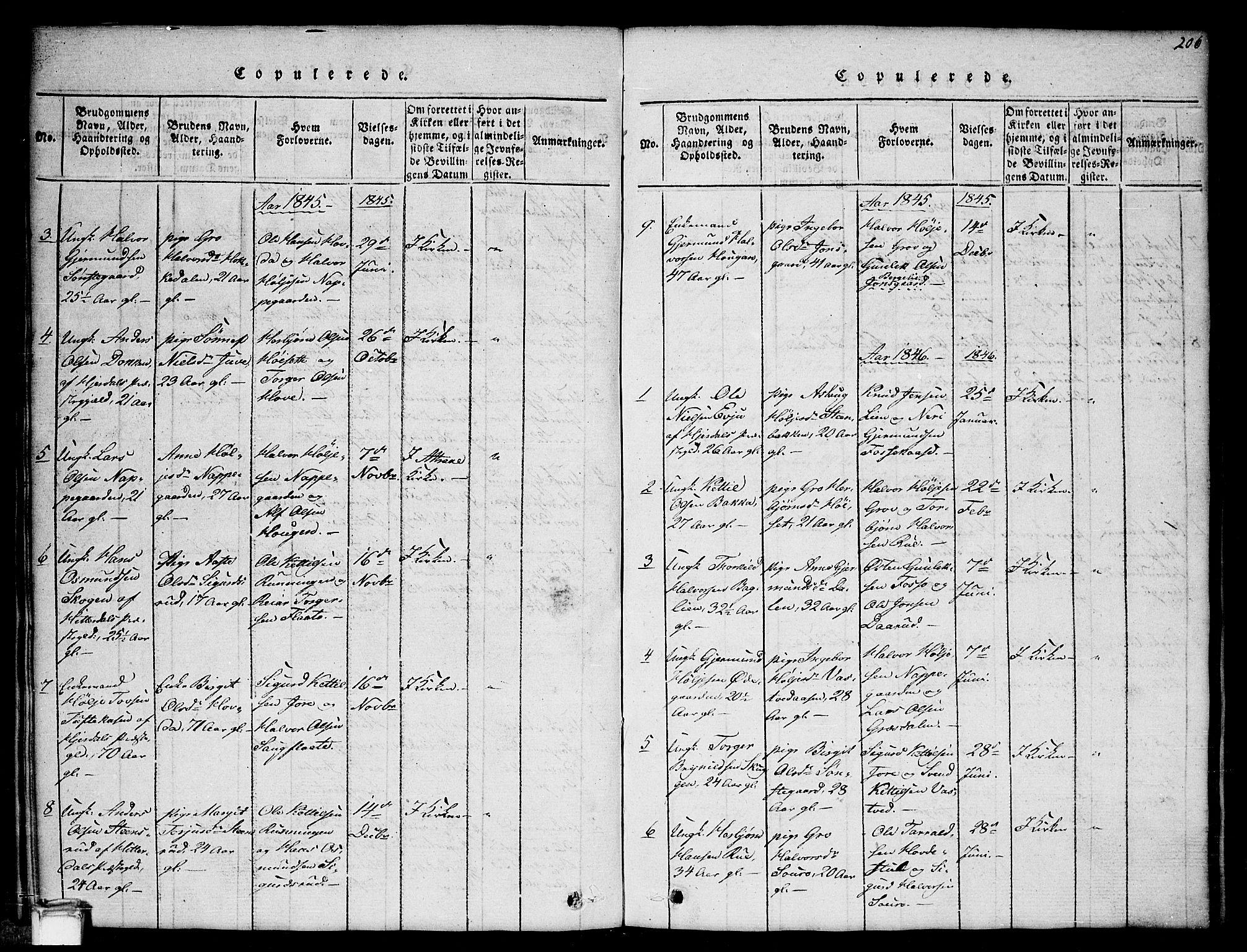 SAKO, Gransherad kirkebøker, G/Gb/L0001: Klokkerbok nr. II 1, 1815-1860, s. 206