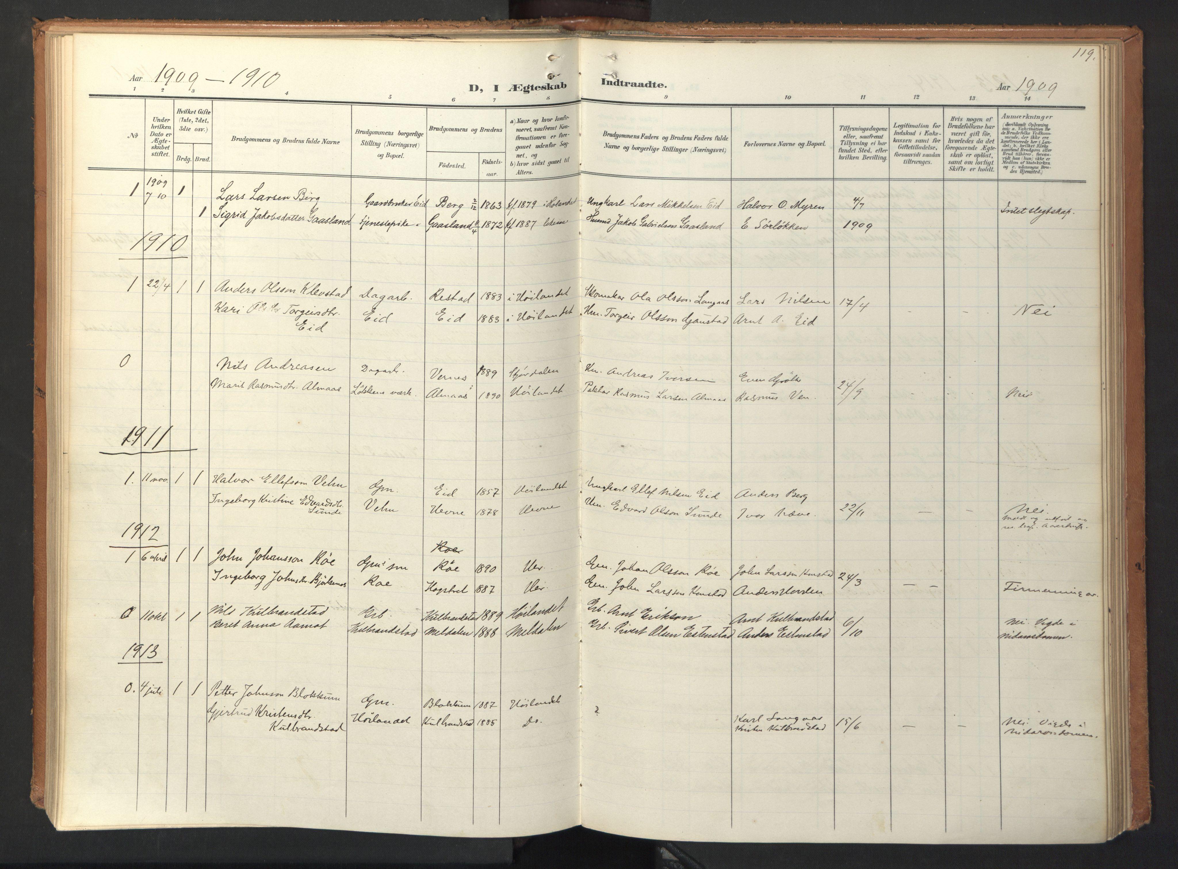 SAT, Ministerialprotokoller, klokkerbøker og fødselsregistre - Sør-Trøndelag, 694/L1128: Ministerialbok nr. 694A02, 1906-1931, s. 119