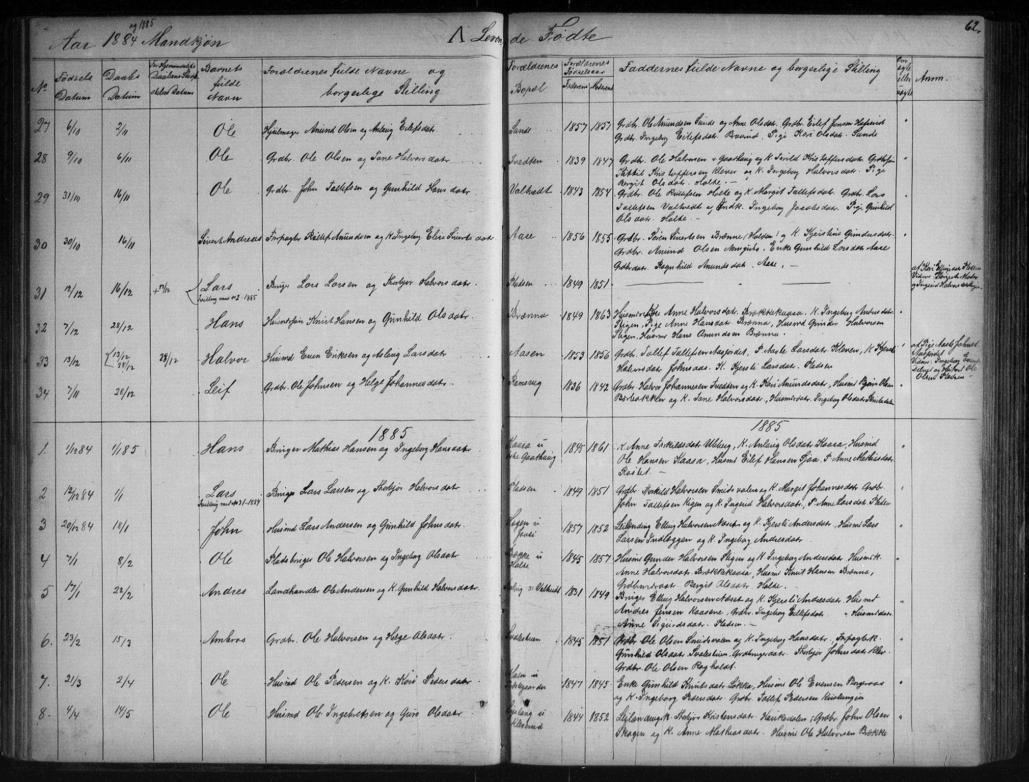 SAKO, Sauherad kirkebøker, G/Ga/L0003: Klokkerbok nr. I 3, 1866-1905, s. 62