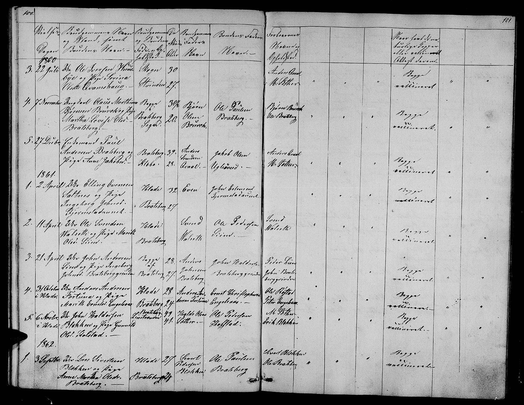 SAT, Ministerialprotokoller, klokkerbøker og fødselsregistre - Sør-Trøndelag, 608/L0339: Klokkerbok nr. 608C05, 1844-1863, s. 100-101