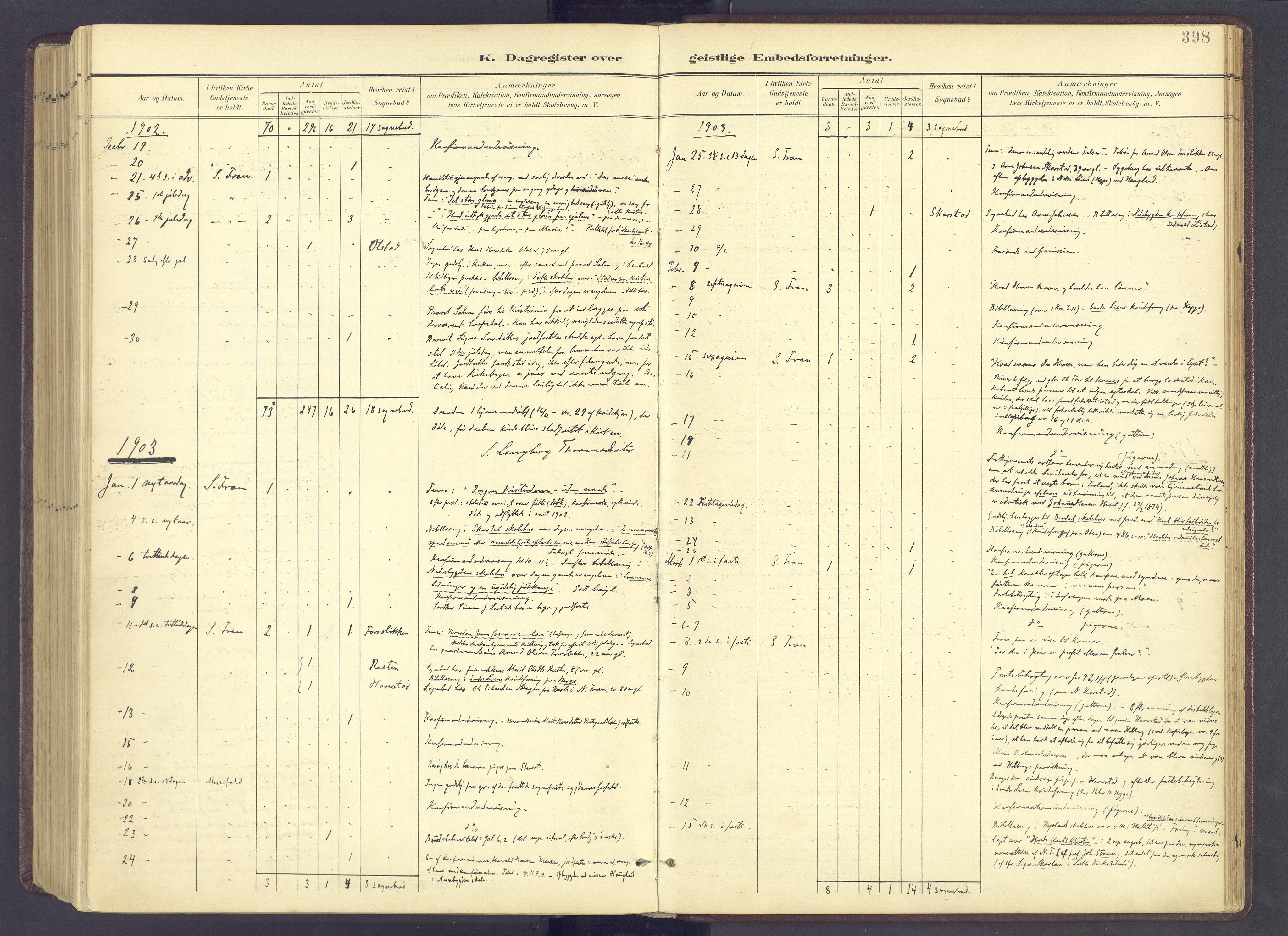 SAH, Sør-Fron prestekontor, H/Ha/Haa/L0004: Ministerialbok nr. 4, 1898-1919, s. 398