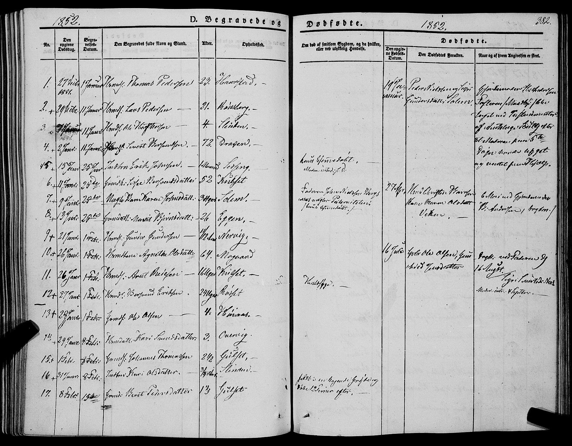SAT, Ministerialprotokoller, klokkerbøker og fødselsregistre - Sør-Trøndelag, 695/L1145: Ministerialbok nr. 695A06 /1, 1843-1859, s. 382