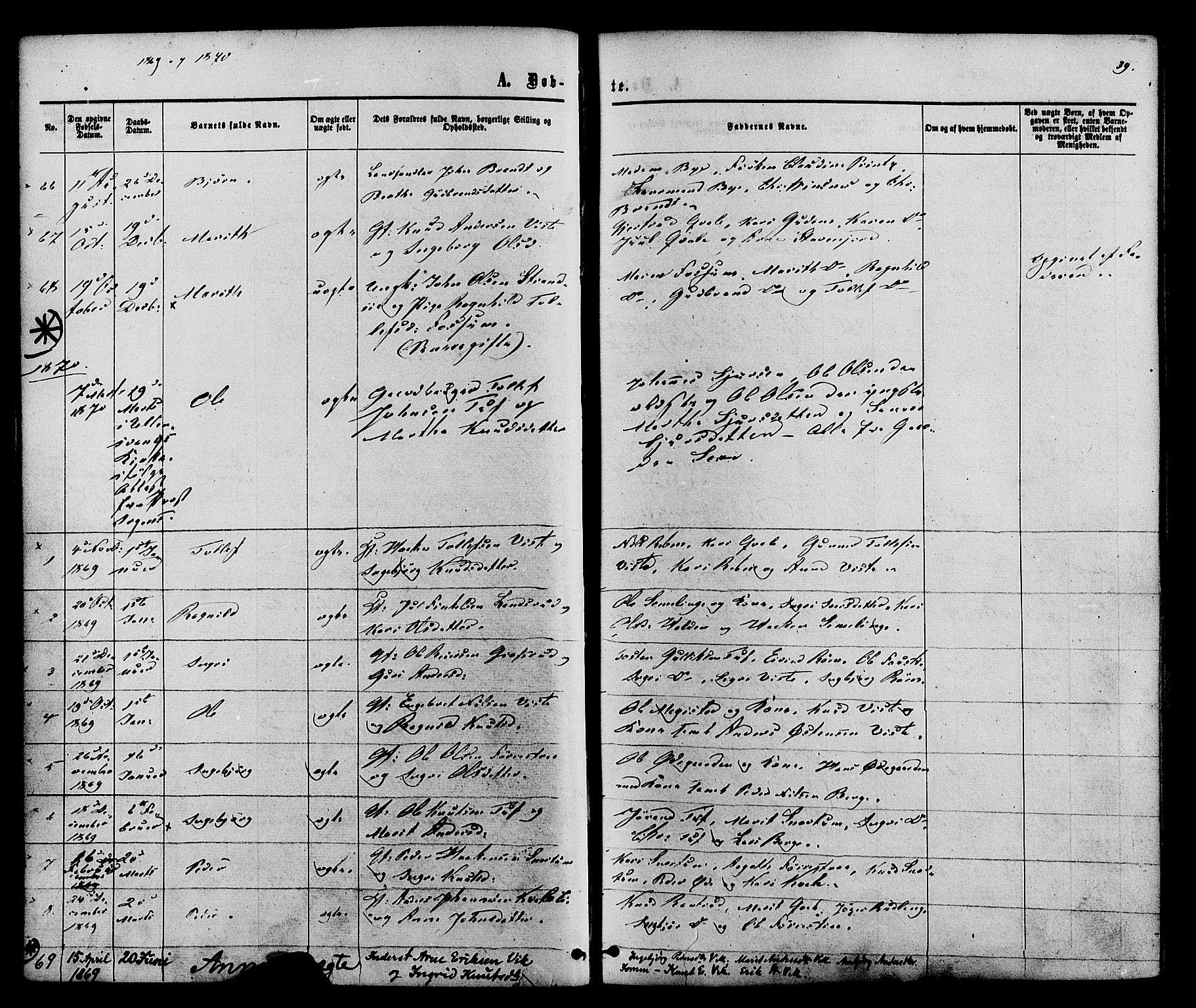 SAH, Vestre Slidre prestekontor, Ministerialbok nr. 3, 1865-1880, s. 39