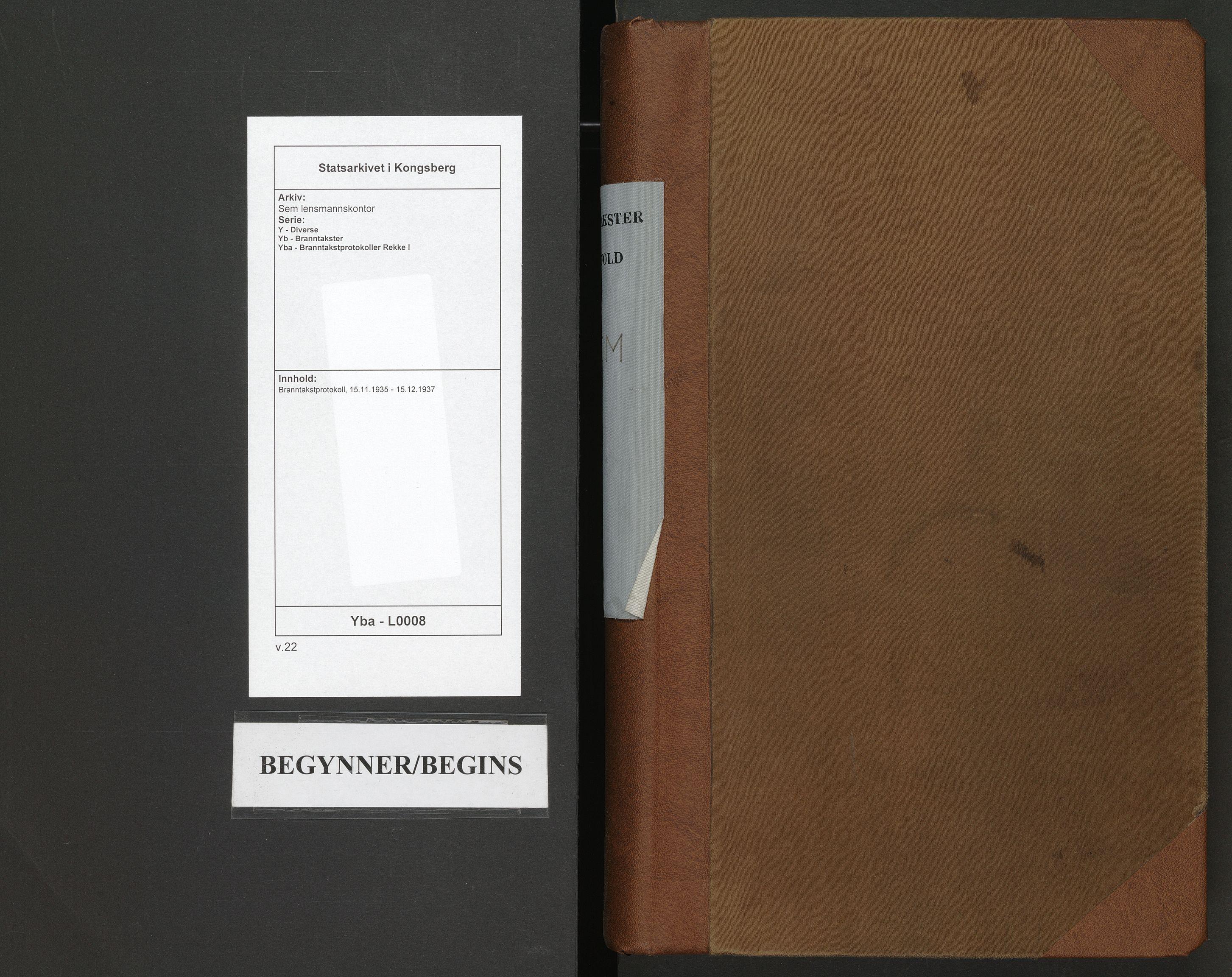 SAKO, Sem lensmannskontor, Y/Yb/Yba/L0008: Branntakstprotokoll, 1935-1937