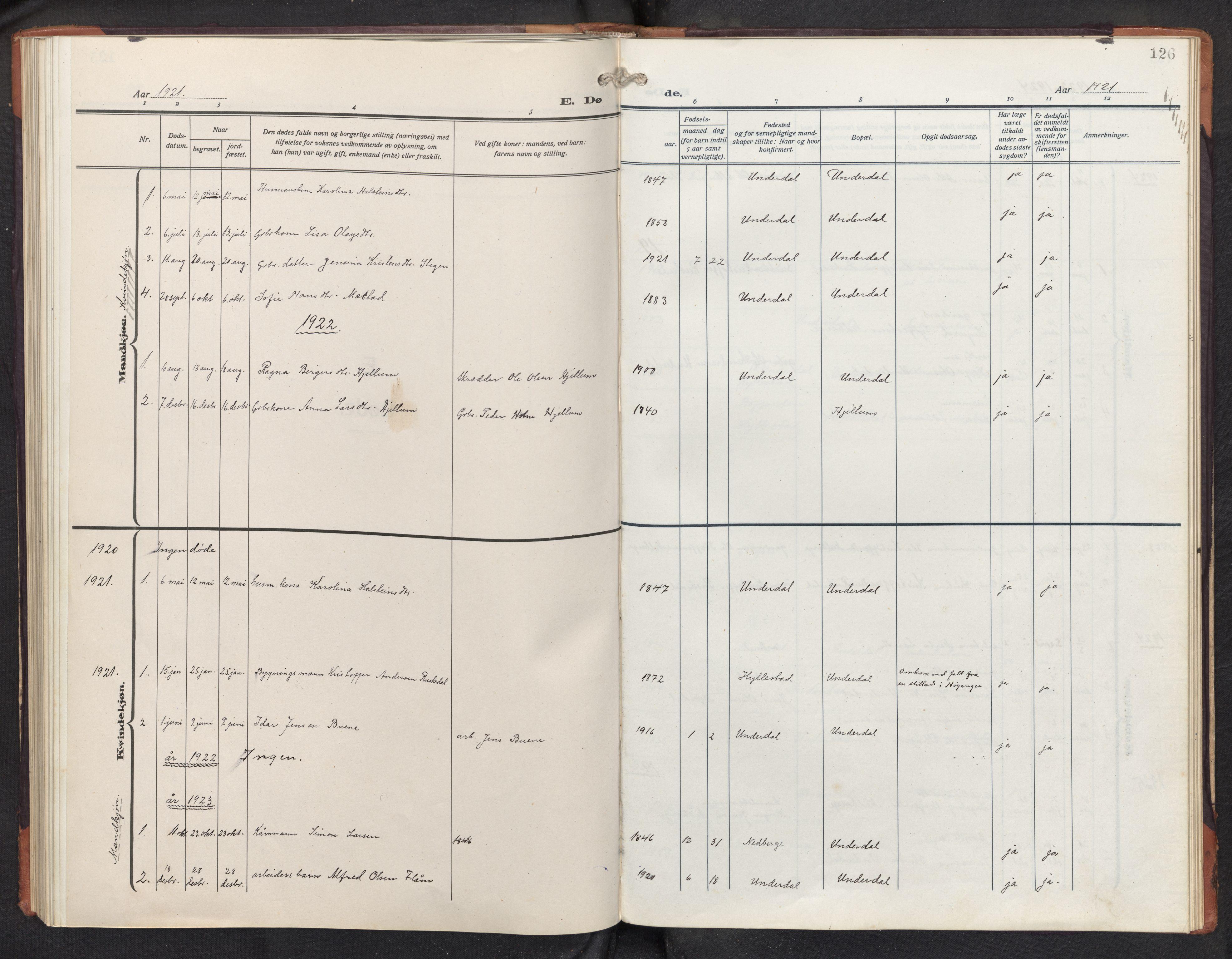 SAB, Aurland Sokneprestembete*, Klokkerbok nr. D 3, 1920-1968, s. 125b-126a