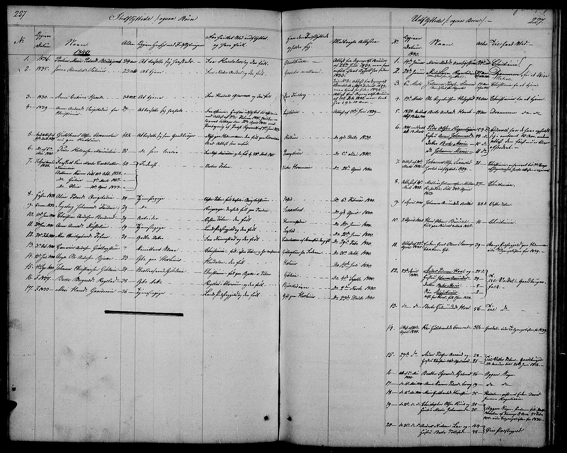 SAH, Østre Toten prestekontor, Klokkerbok nr. 2, 1840-1847, s. 227