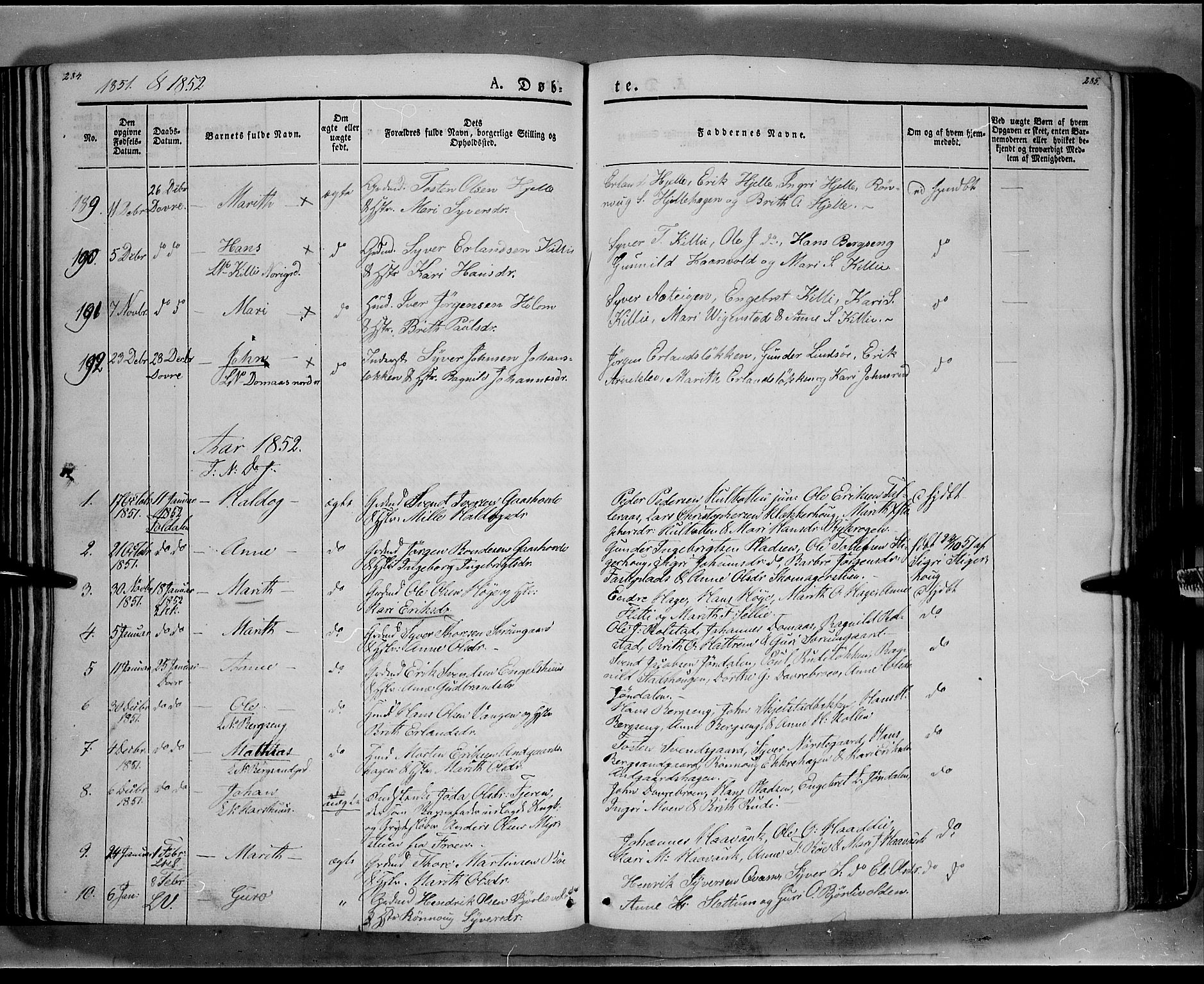 SAH, Lesja prestekontor, Ministerialbok nr. 6A, 1843-1854, s. 284-285