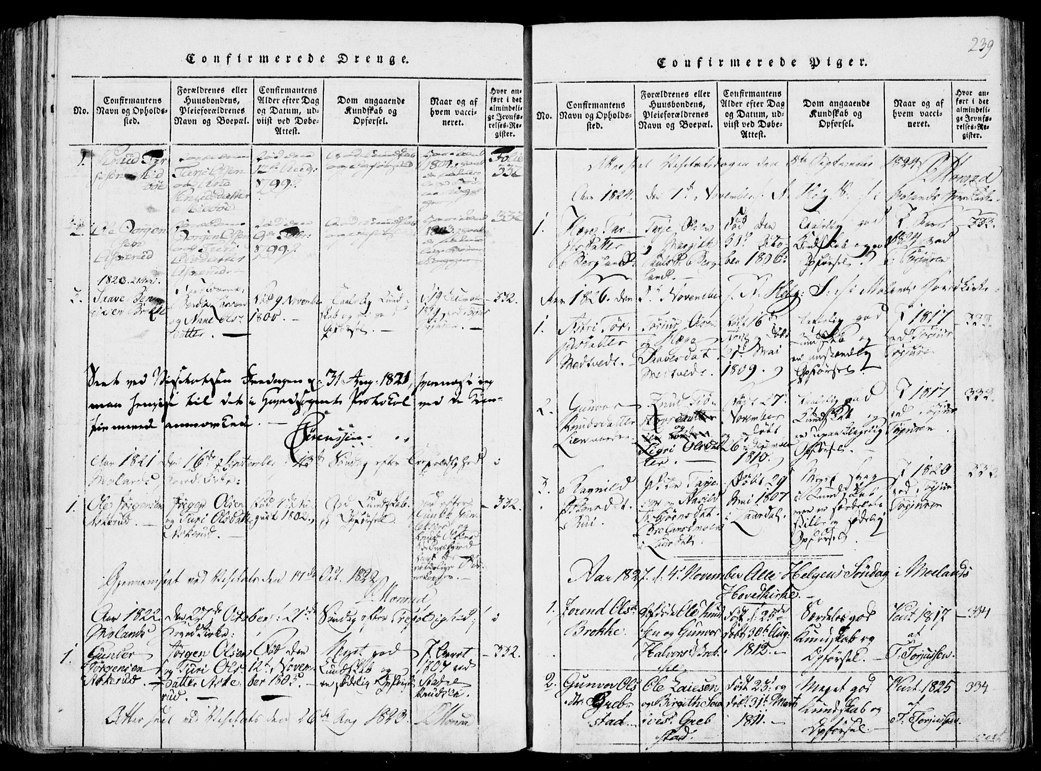 SAKO, Fyresdal kirkebøker, F/Fa/L0004: Ministerialbok nr. I 4, 1815-1854, s. 239