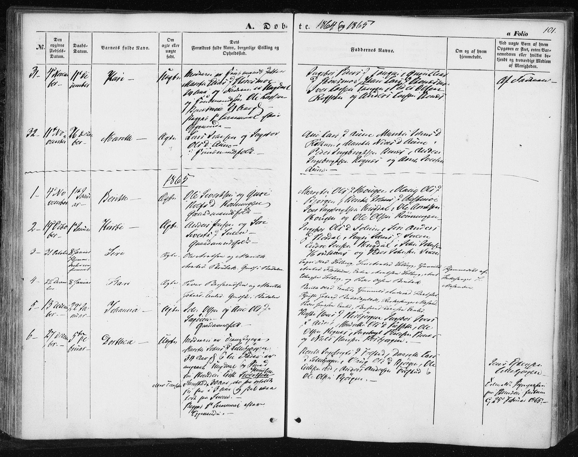 SAT, Ministerialprotokoller, klokkerbøker og fødselsregistre - Sør-Trøndelag, 687/L1000: Ministerialbok nr. 687A06, 1848-1869, s. 101
