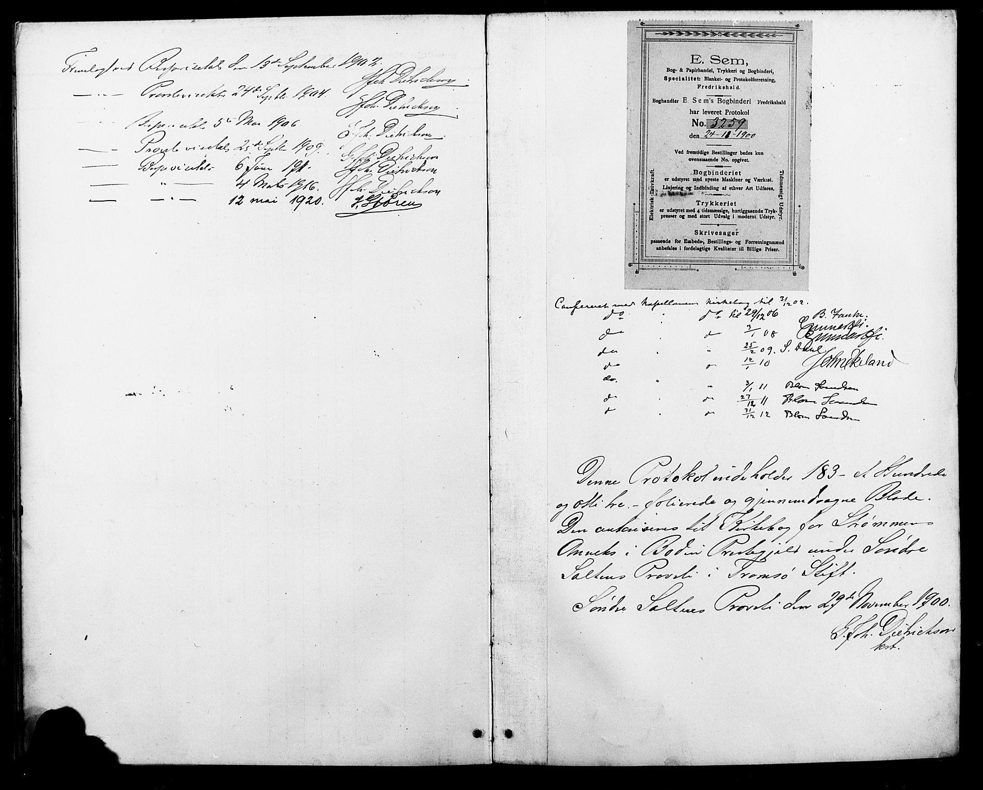 SAT, Ministerialprotokoller, klokkerbøker og fødselsregistre - Nordland, 804/L0088: Klokkerbok nr. 804C01, 1901-1917