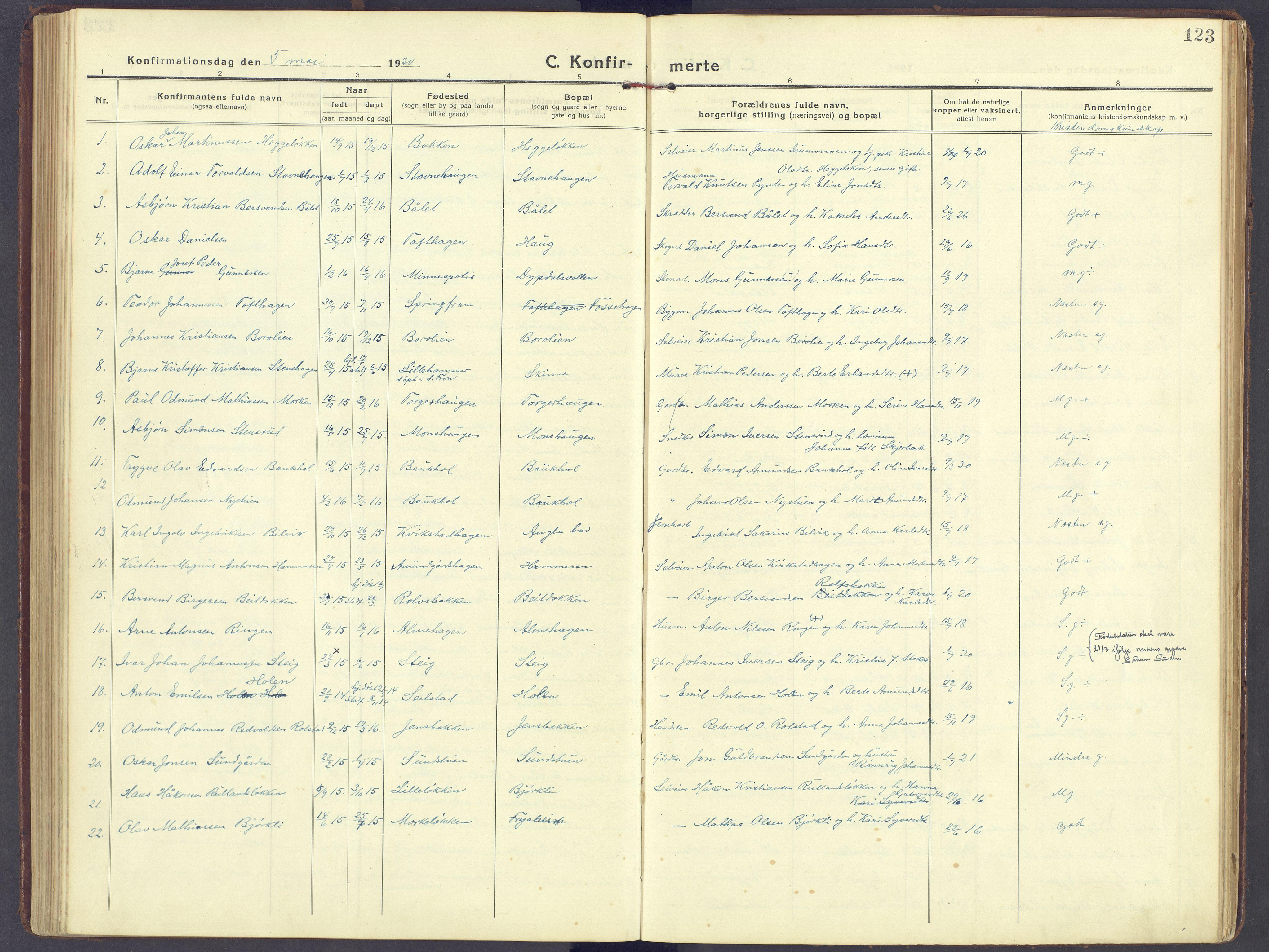 SAH, Sør-Fron prestekontor, H/Ha/Haa/L0005: Ministerialbok nr. 5, 1920-1933, s. 123