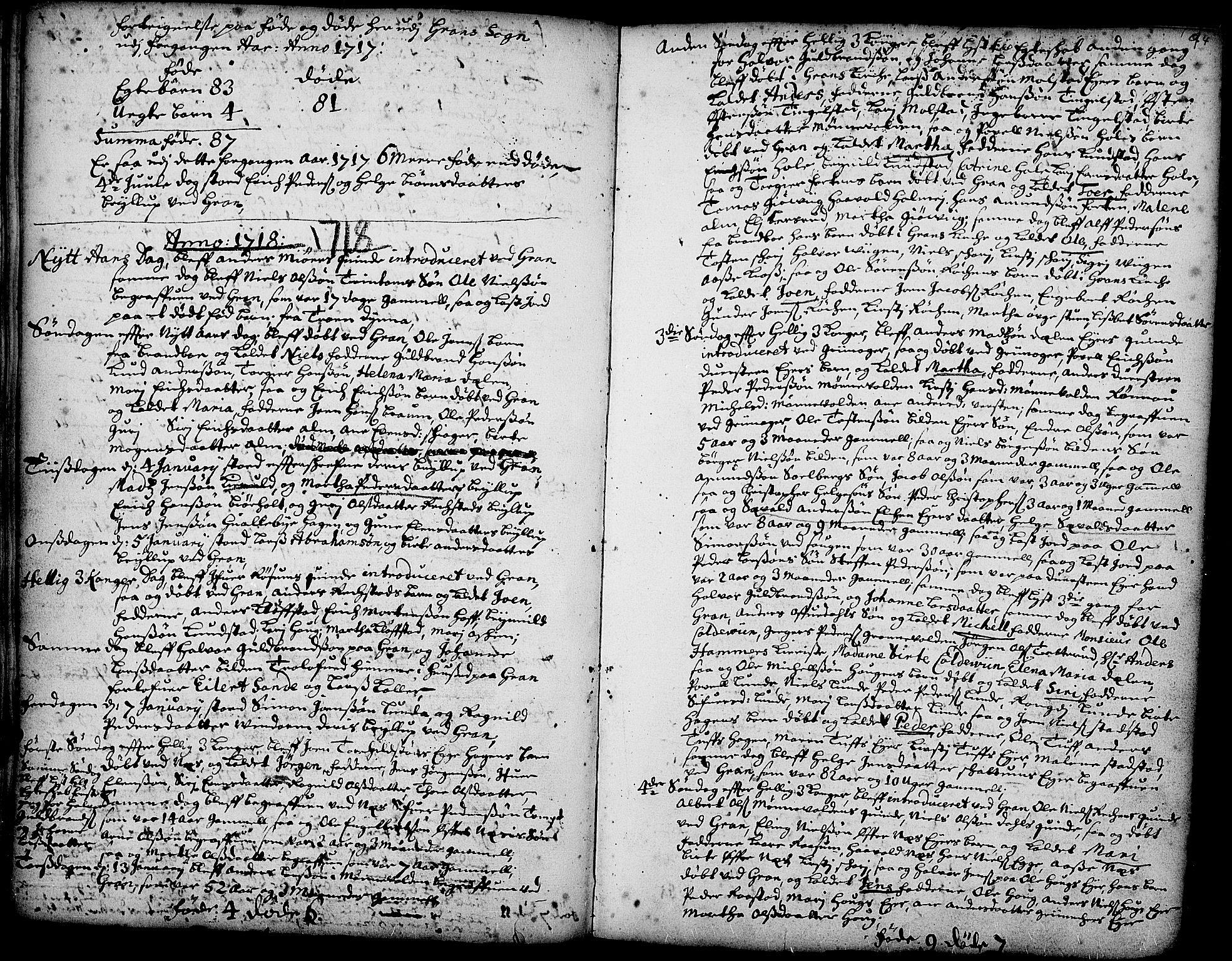 SAH, Gran prestekontor, Ministerialbok nr. 1, 1707-1731, s. 94