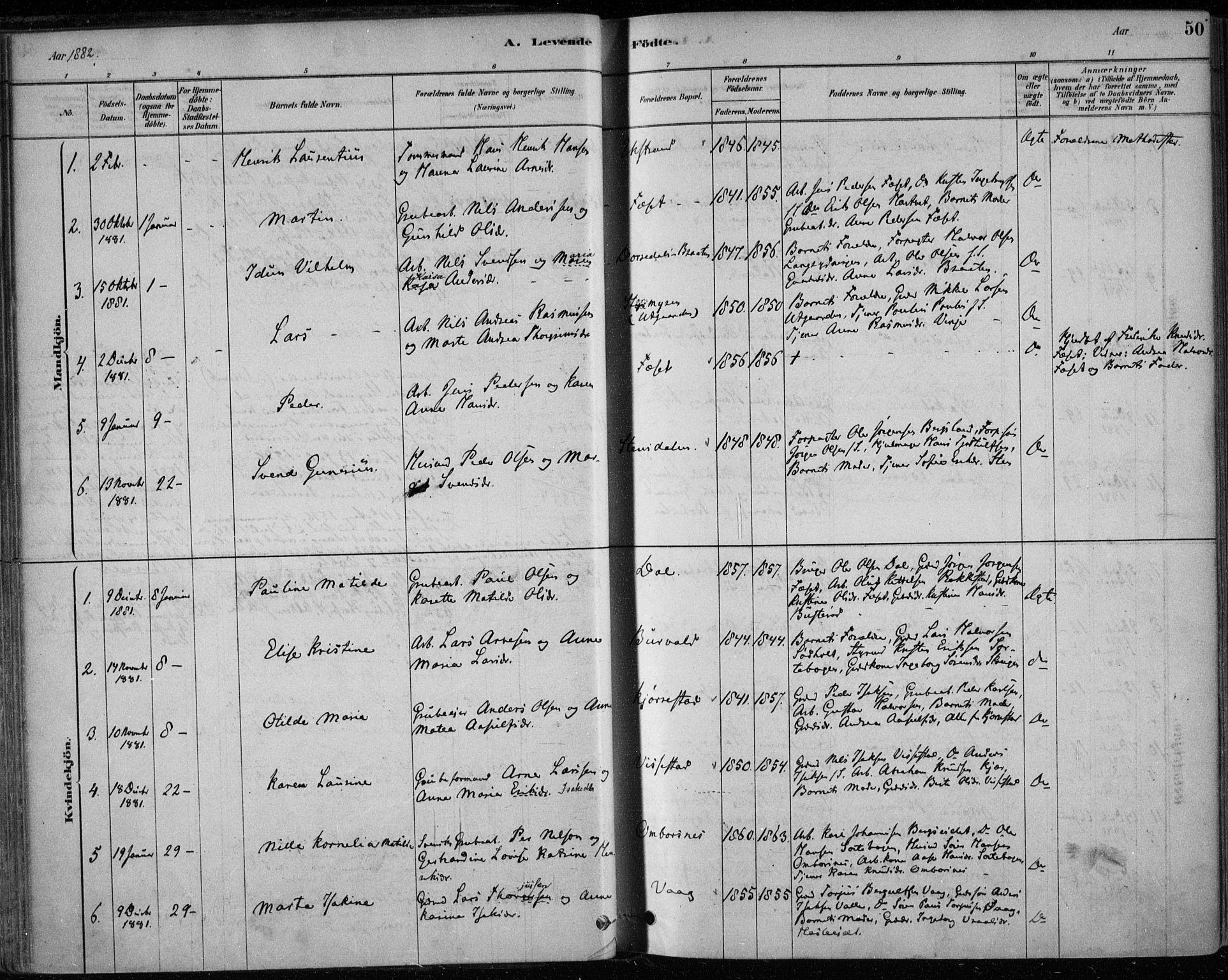 SAKO, Bamble kirkebøker, F/Fa/L0007: Ministerialbok nr. I 7, 1878-1888, s. 50