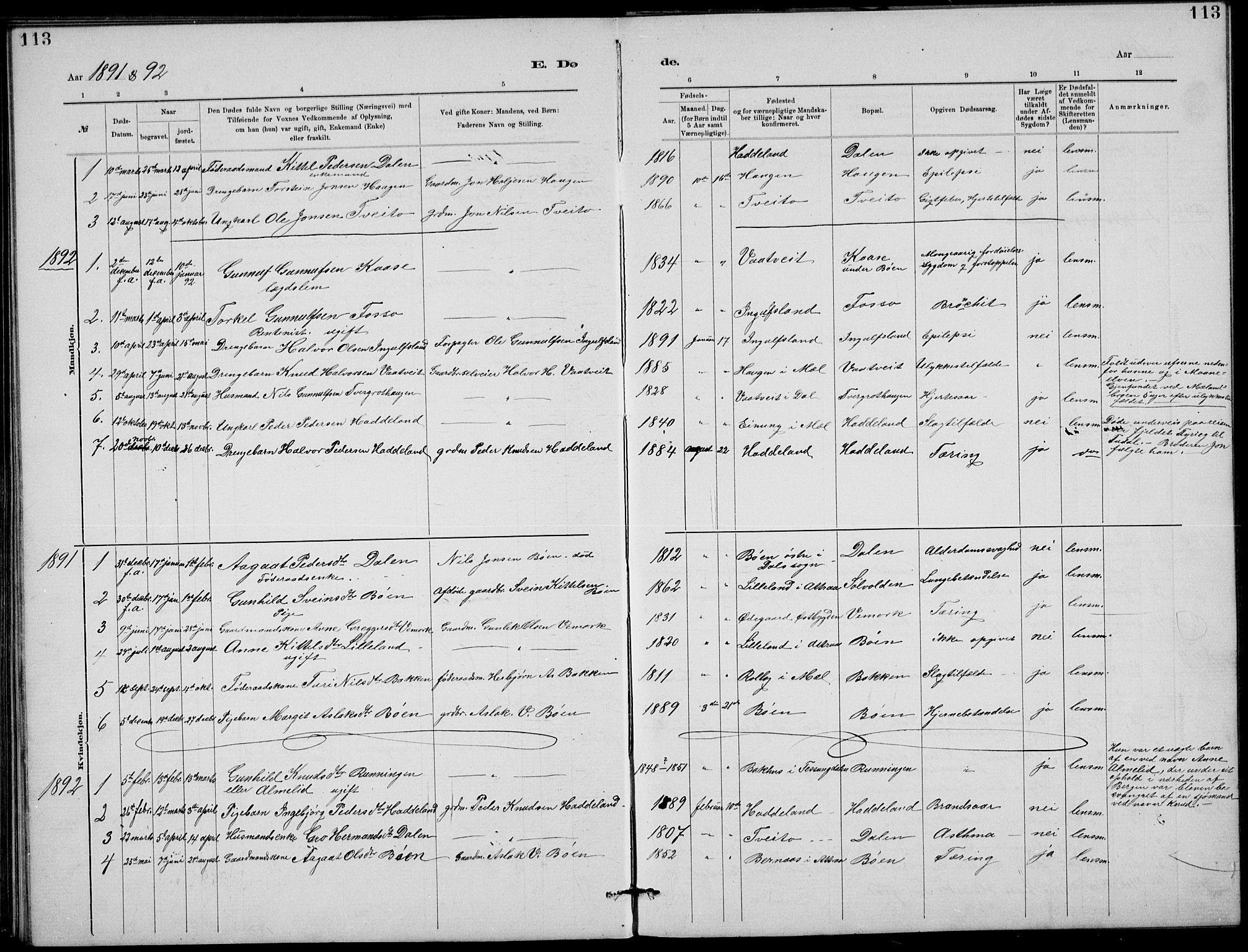 SAKO, Rjukan kirkebøker, G/Ga/L0001: Klokkerbok nr. 1, 1880-1914, s. 113