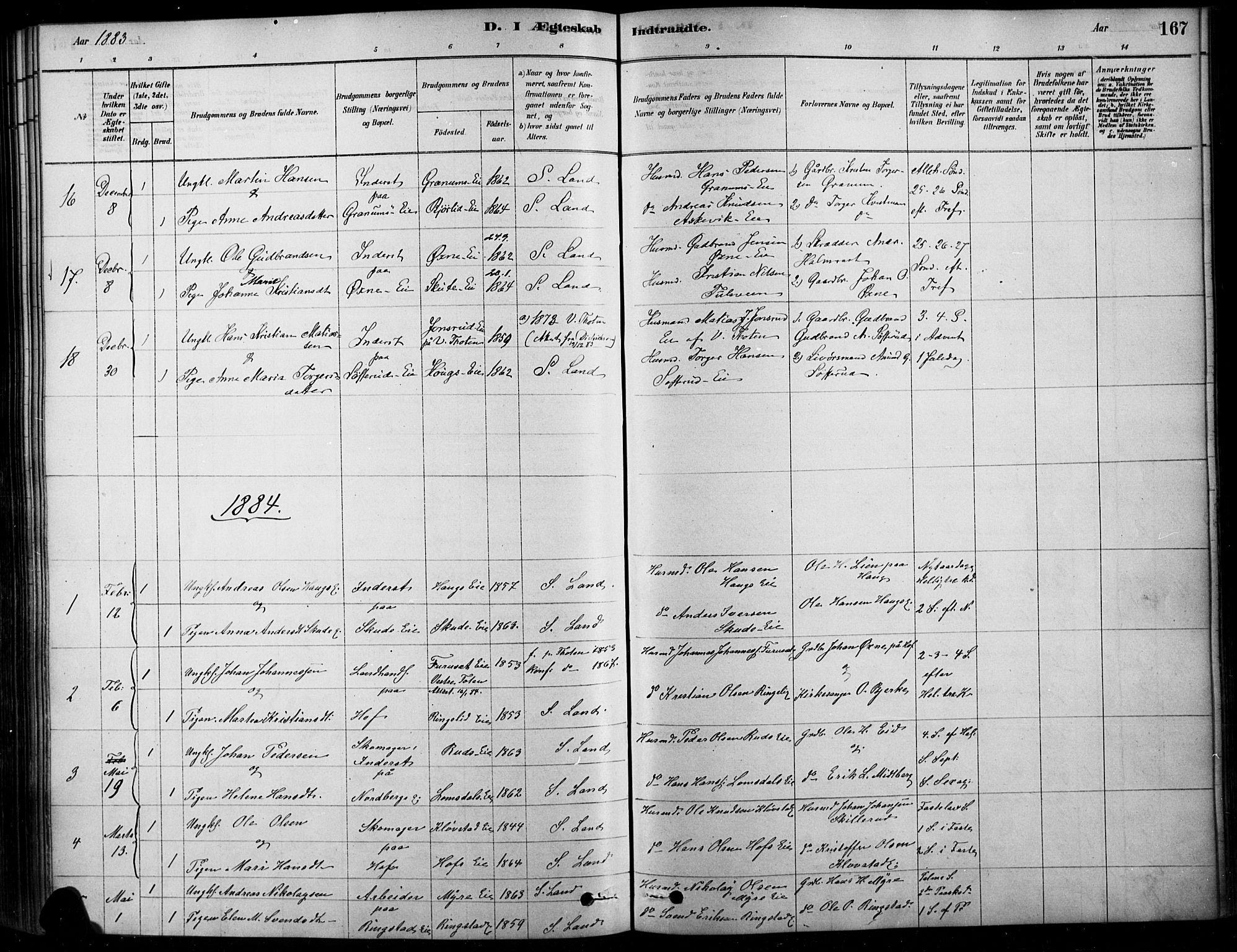 SAH, Søndre Land prestekontor, K/L0003: Ministerialbok nr. 3, 1878-1894, s. 167