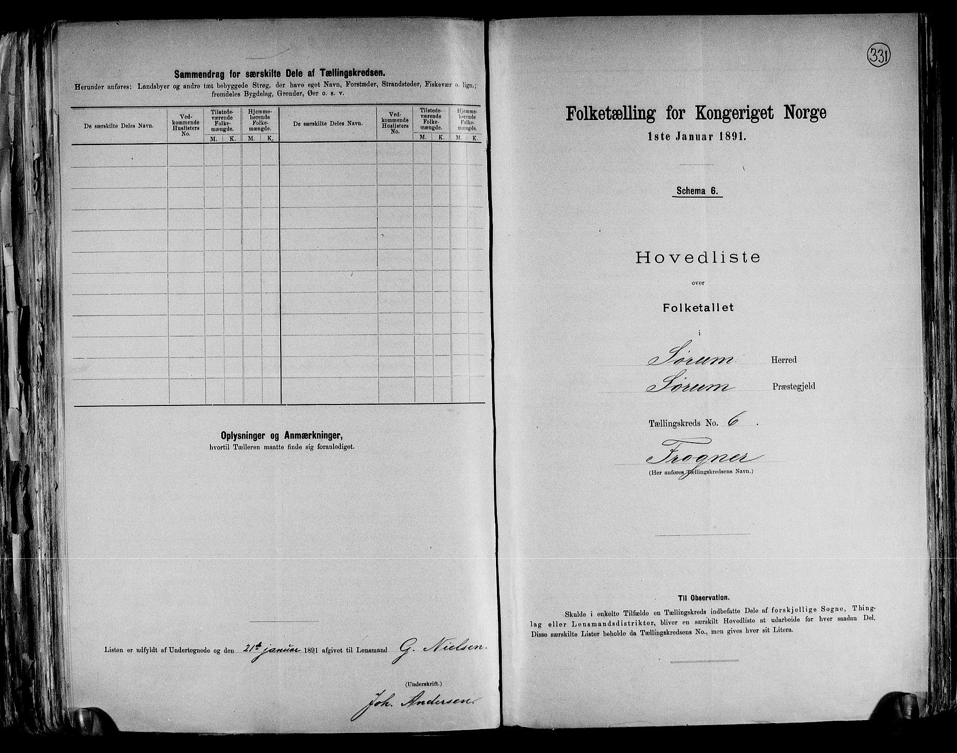 RA, Folketelling 1891 for 0226 Sørum herred, 1891, s. 16