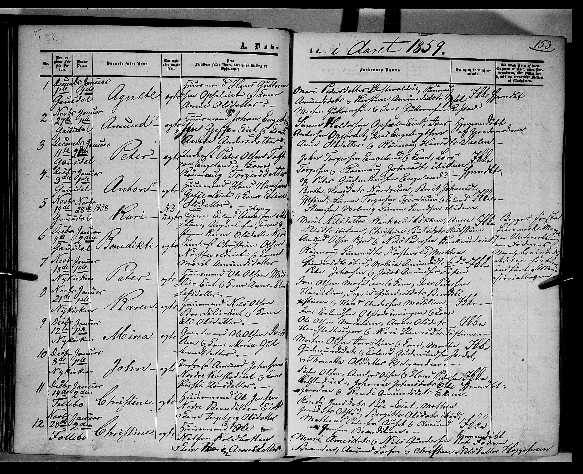 SAH, Gausdal prestekontor, Ministerialbok nr. 8, 1850-1861, s. 153