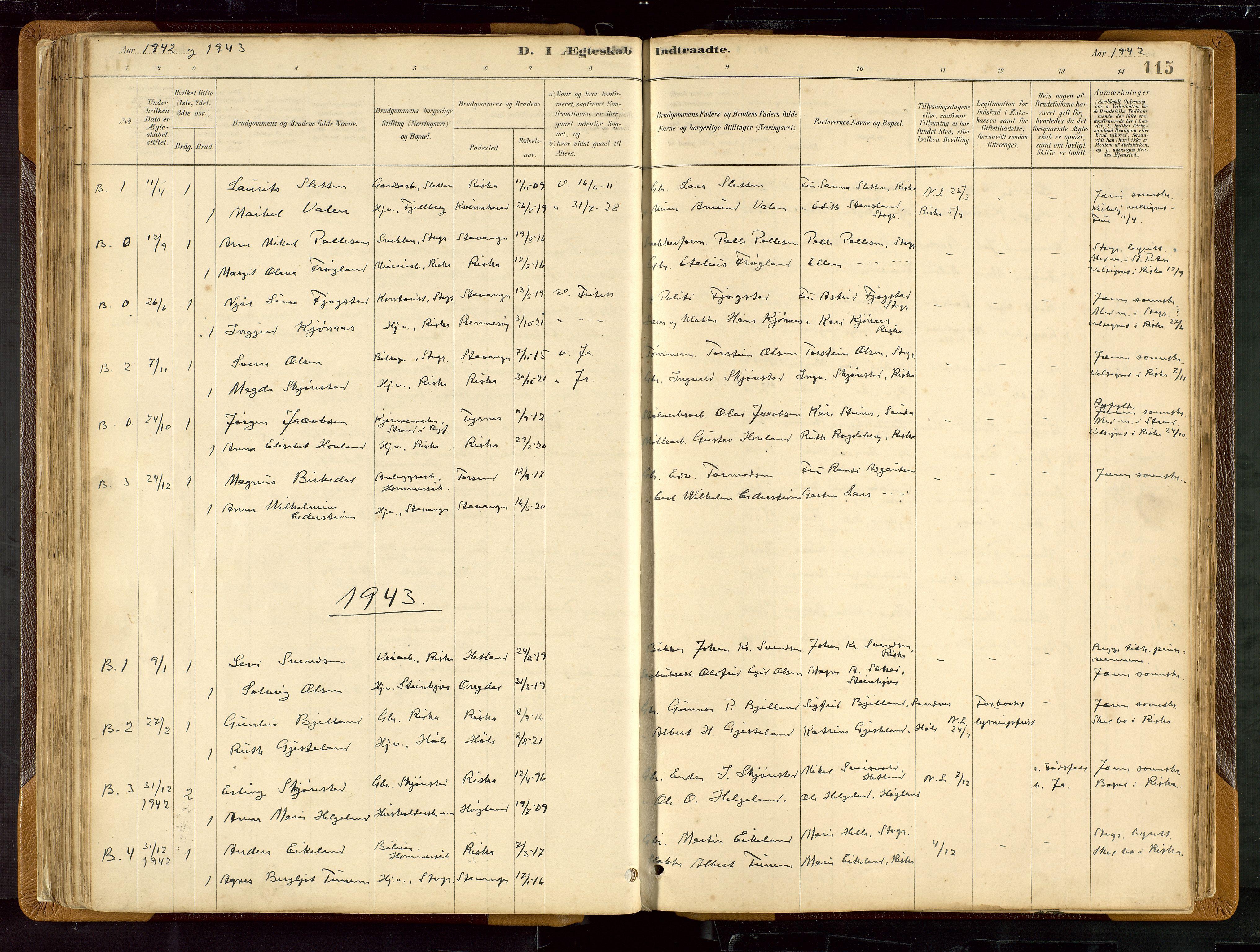 SAST, Hetland sokneprestkontor, 30/30BB/L0007: Klokkerbok nr. B 7, 1878-1910, s. 115