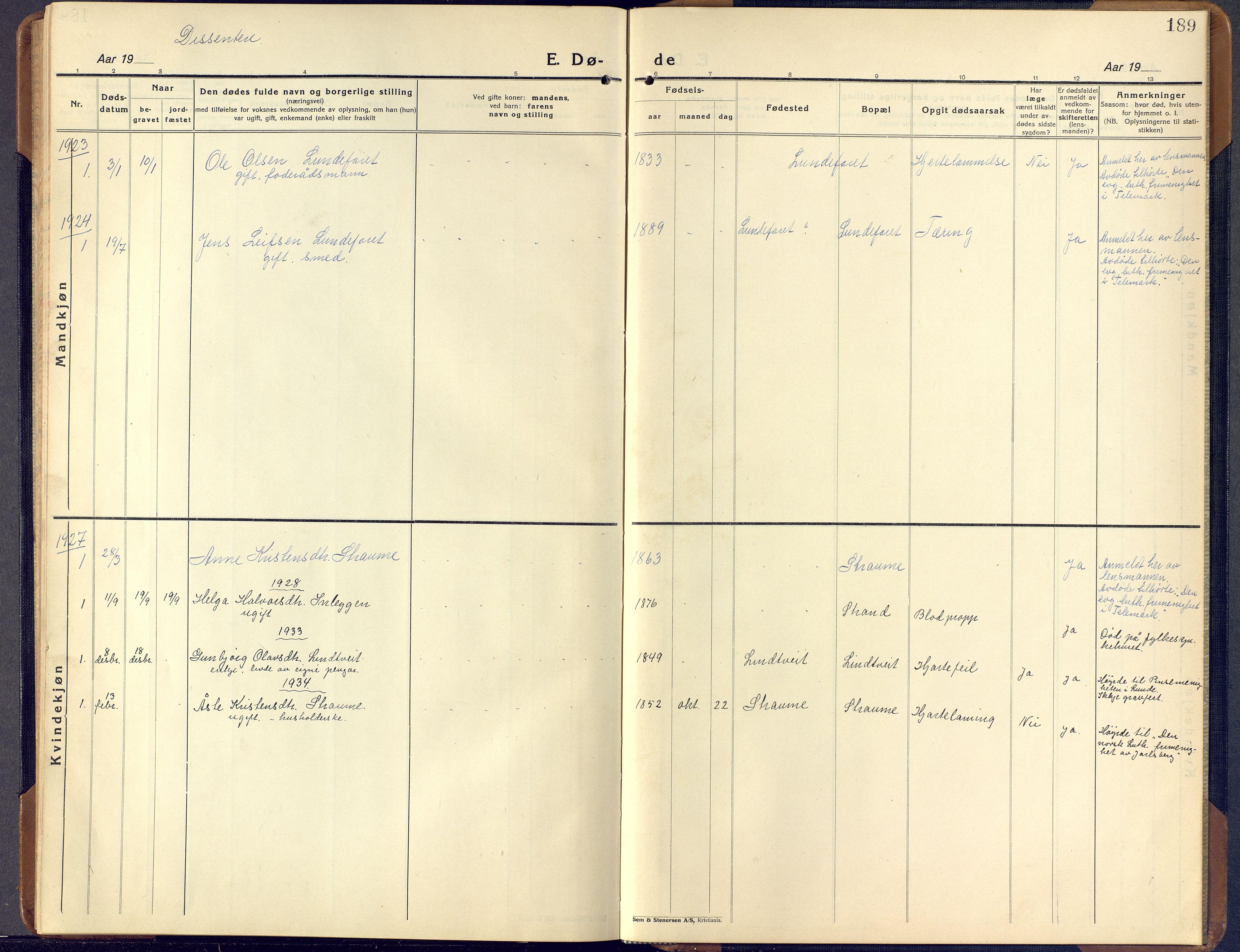 SAKO, Lunde kirkebøker, F/Fa/L0006: Ministerialbok nr. I 6, 1922-1940, s. 189