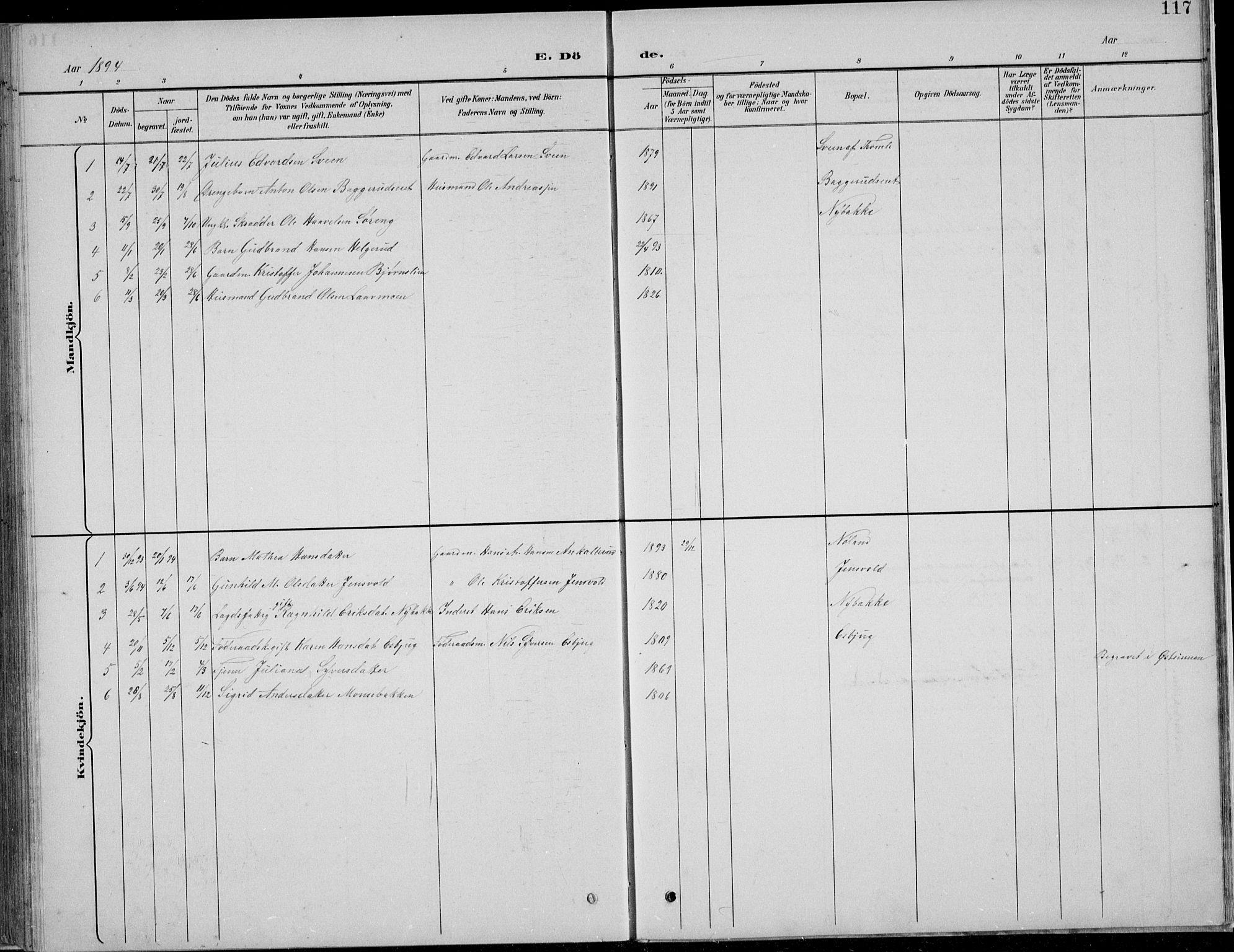 SAH, Nordre Land prestekontor, Klokkerbok nr. 13, 1891-1904, s. 117