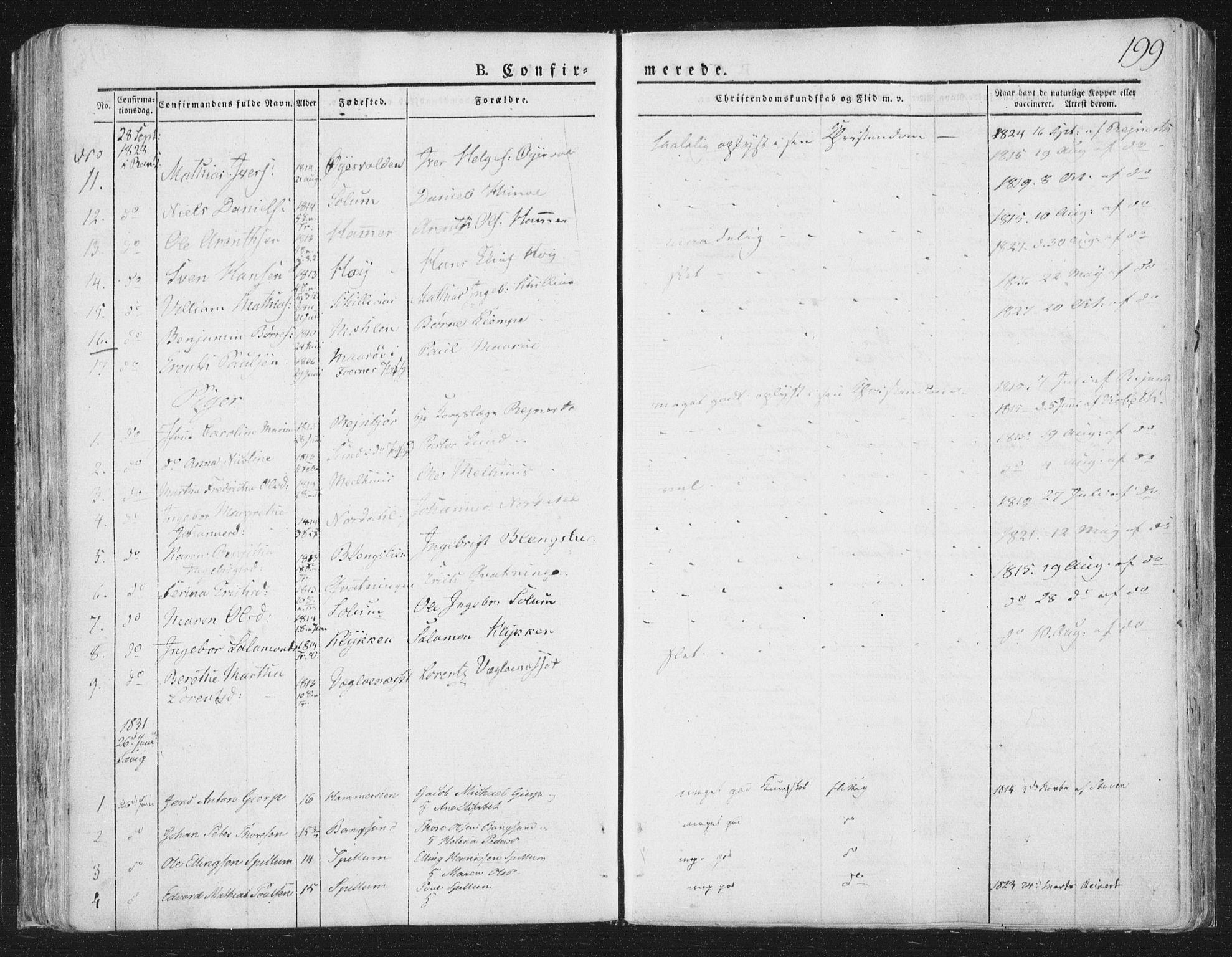 SAT, Ministerialprotokoller, klokkerbøker og fødselsregistre - Nord-Trøndelag, 764/L0551: Ministerialbok nr. 764A07a, 1824-1864, s. 199