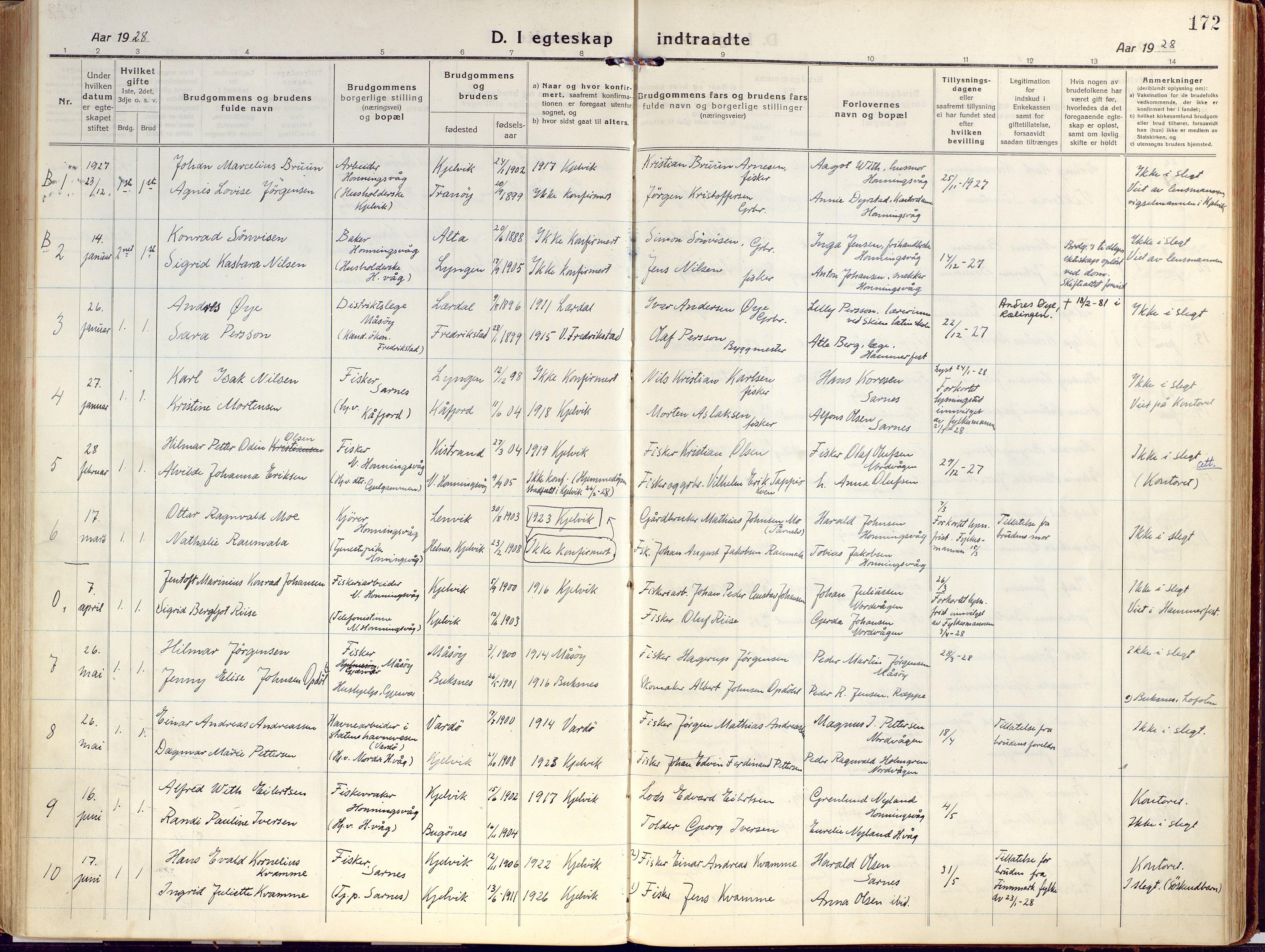 SATØ, Kjelvik/Nordkapp sokneprestkontor, H/Ha/L0002kirke: Ministerialbok nr. 2, 1920-1929, s. 172