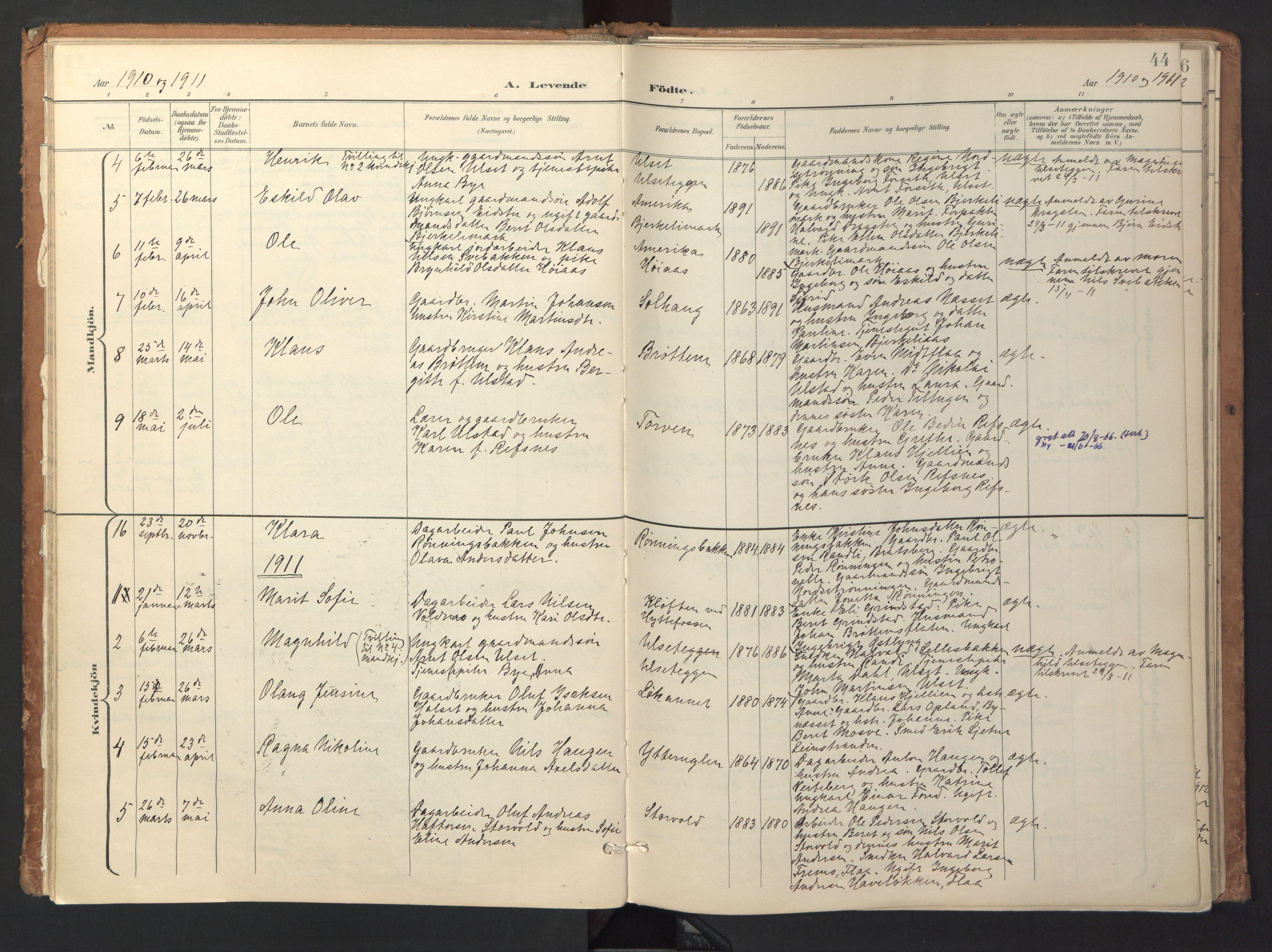 SAT, Ministerialprotokoller, klokkerbøker og fødselsregistre - Sør-Trøndelag, 618/L0448: Ministerialbok nr. 618A11, 1898-1916, s. 44