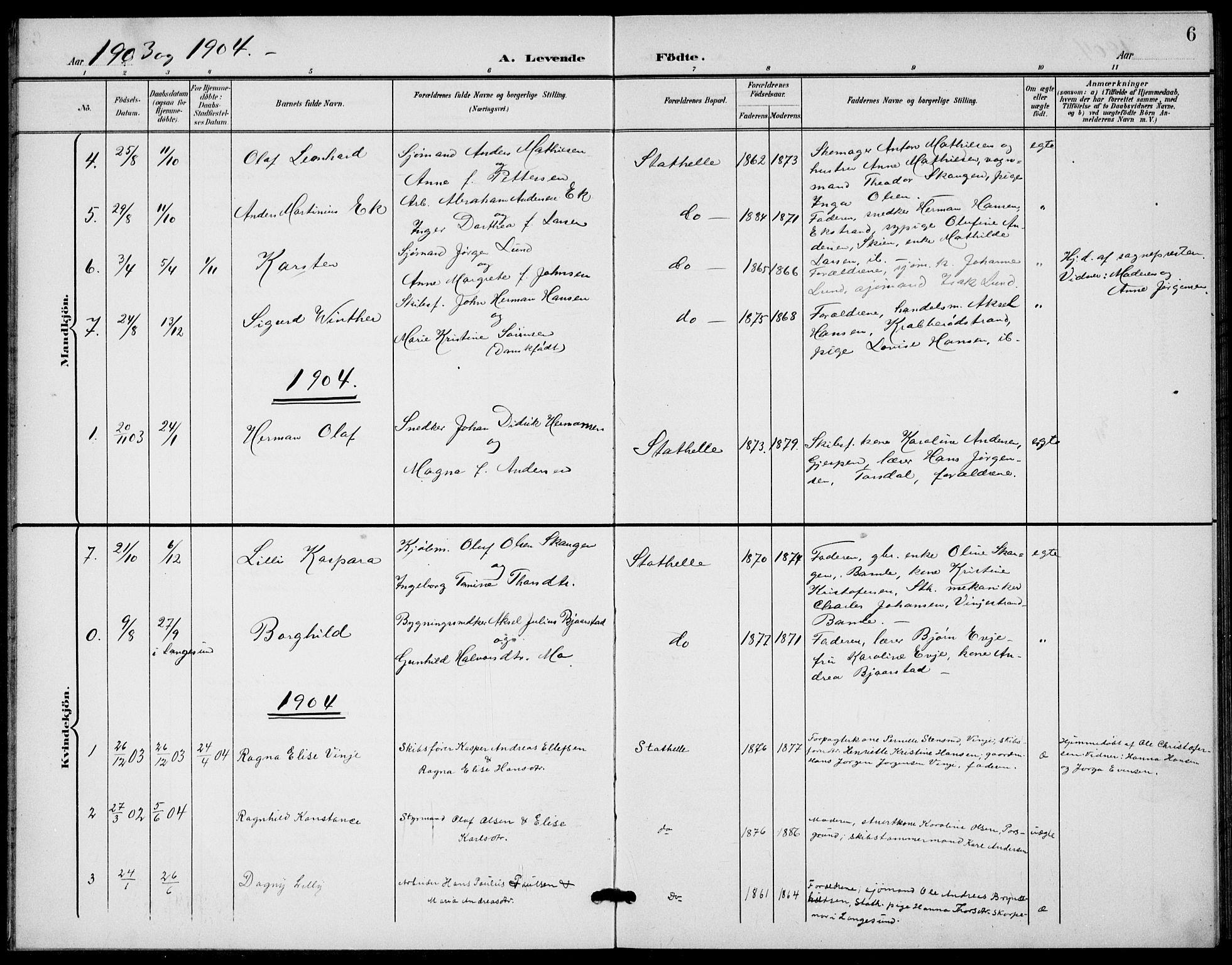SAKO, Bamble kirkebøker, G/Gb/L0002: Klokkerbok nr. II 2, 1900-1925, s. 6
