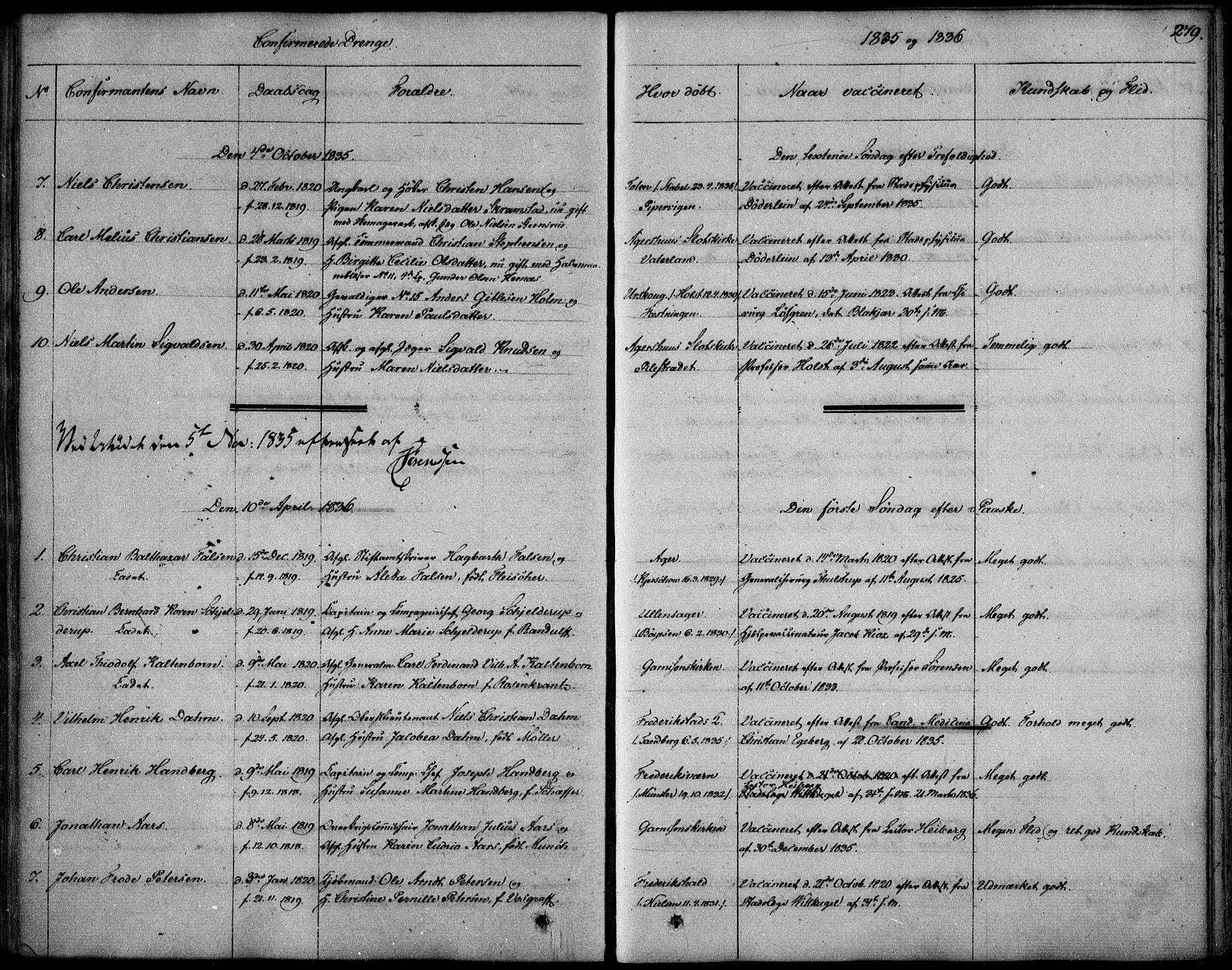 SAO, Garnisonsmenigheten Kirkebøker, F/Fa/L0006: Ministerialbok nr. 6, 1828-1841, s. 279
