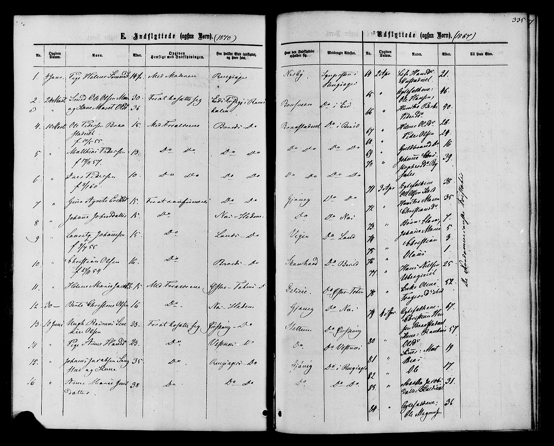 SAH, Vardal prestekontor, H/Ha/Haa/L0007: Ministerialbok nr. 7, 1867-1878, s. 335