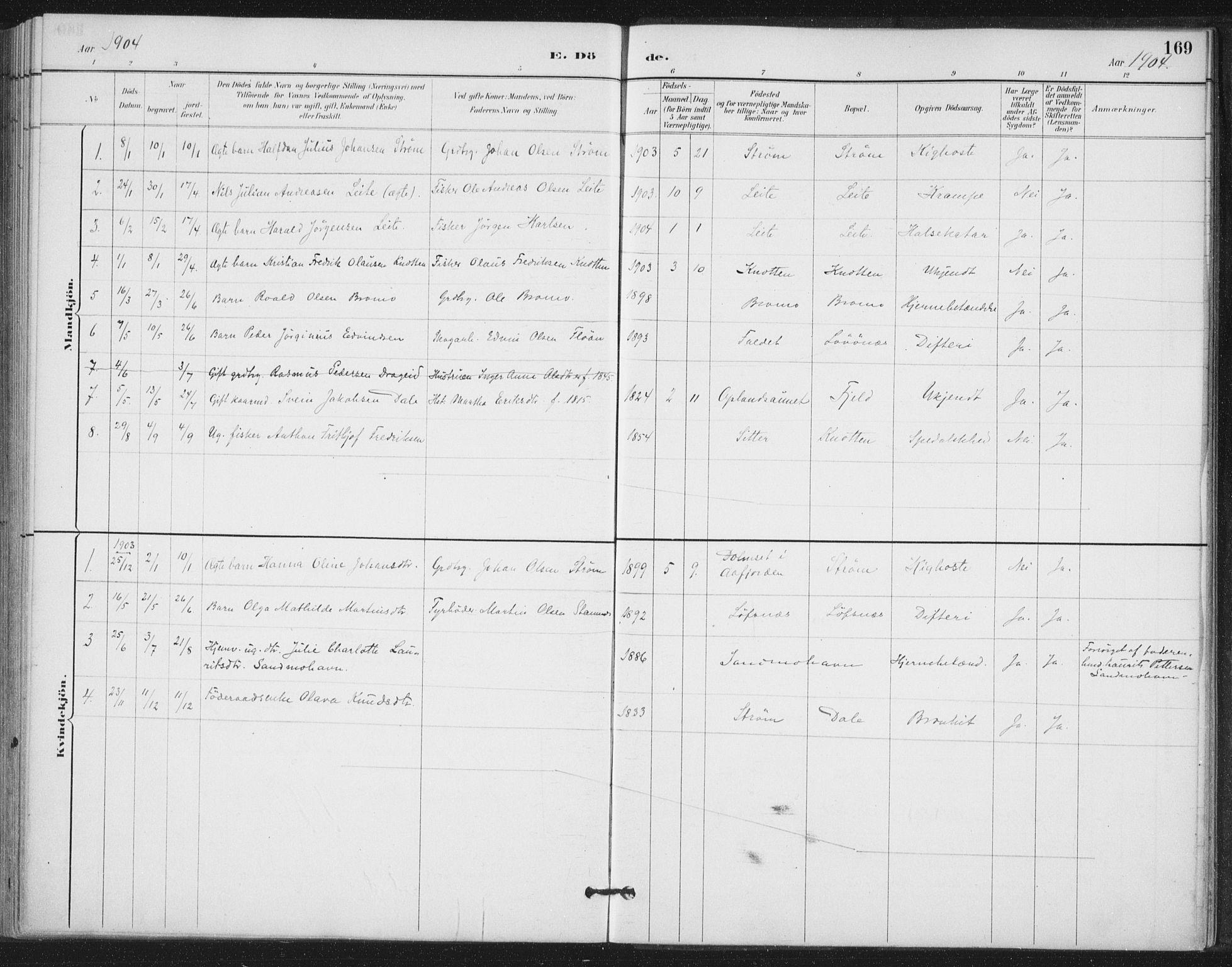 SAT, Ministerialprotokoller, klokkerbøker og fødselsregistre - Nord-Trøndelag, 772/L0603: Ministerialbok nr. 772A01, 1885-1912, s. 169