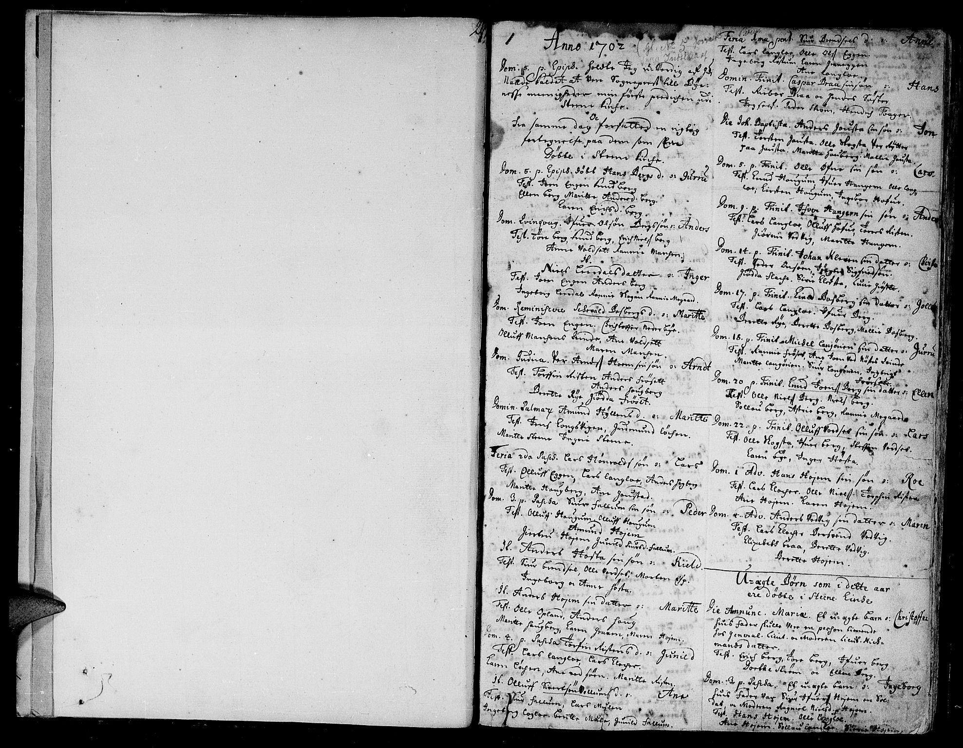 SAT, Ministerialprotokoller, klokkerbøker og fødselsregistre - Sør-Trøndelag, 612/L0368: Ministerialbok nr. 612A02, 1702-1753, s. 1