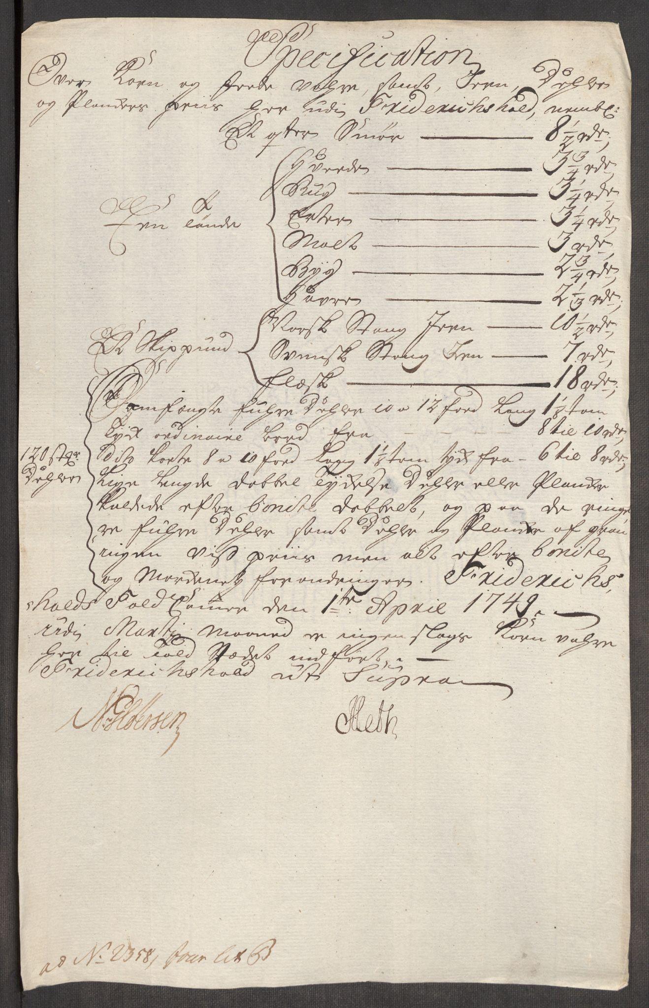 RA, Rentekammeret inntil 1814, Realistisk ordnet avdeling, Oe/L0004: [Ø1]: Priskuranter, 1749-1752, s. 5